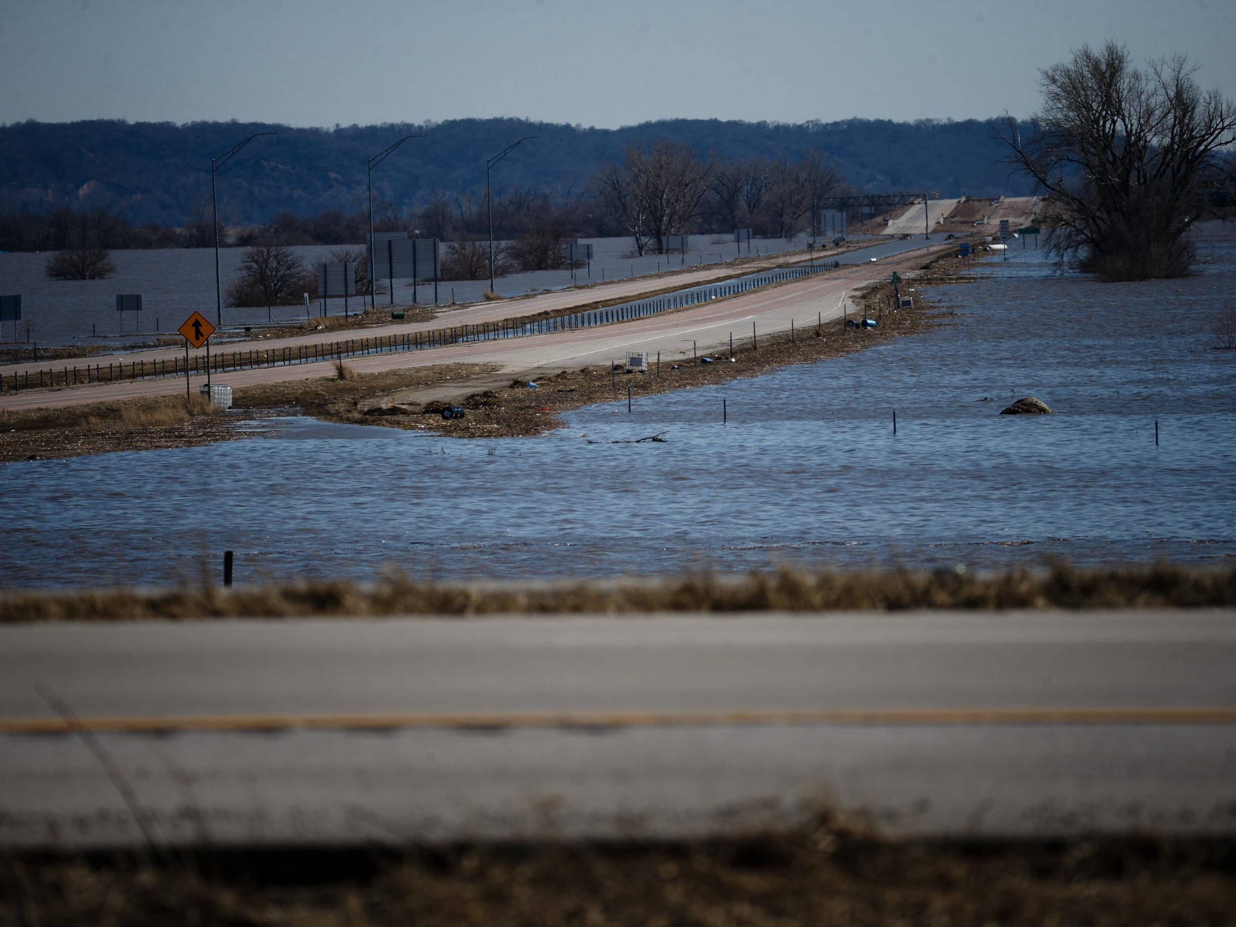 I-29 remains closed to the Missouri border as flood waters aren't expected to go down until later this week on Wednesday, March 20, 2019, in Mills County.