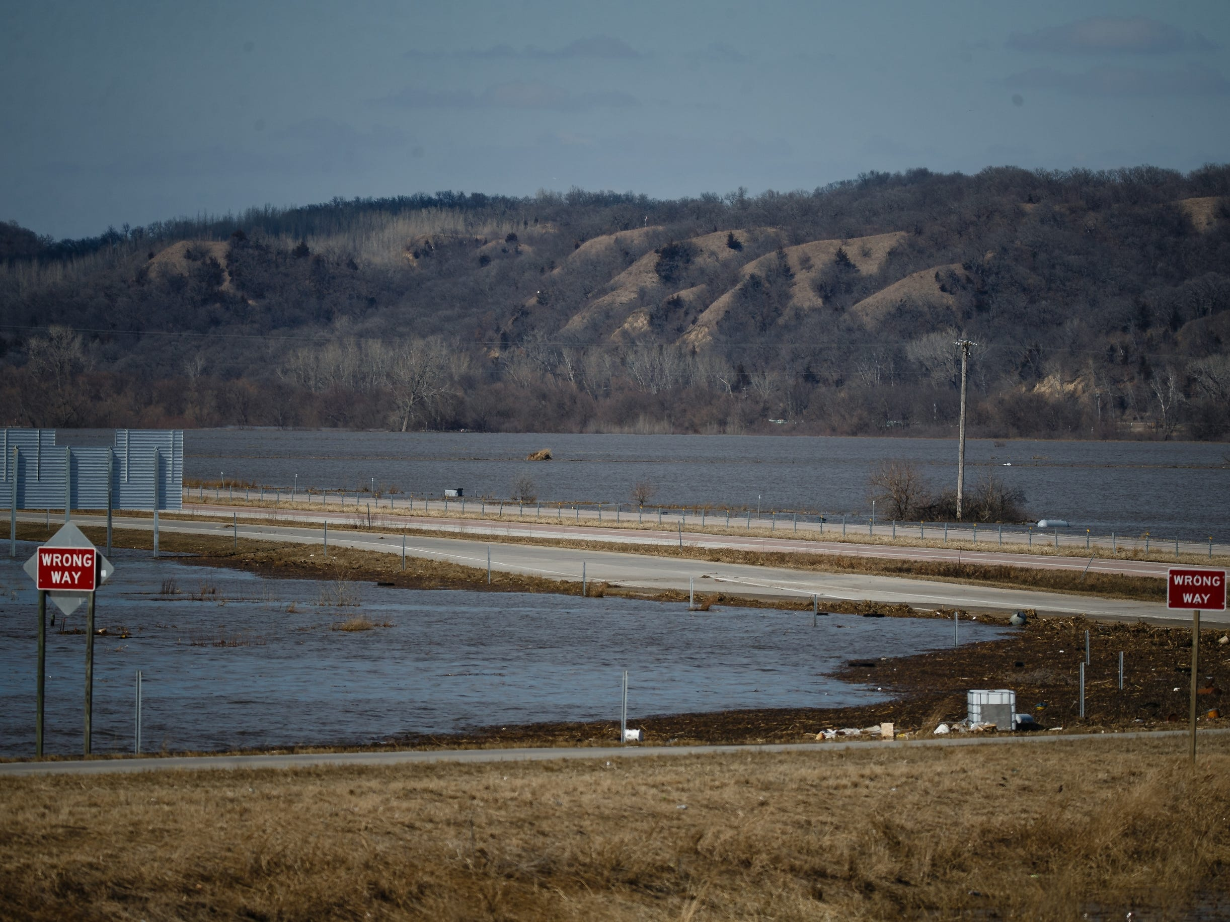 Flood waters have shut down parts of Interstate 29 from Council Bluffs to the Missouri border and Highway 35 to the Nebraska border on Wednesday, March 20, 2019, in Mills County.