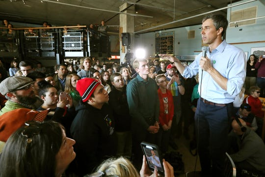 Democratic presidential candidate Beto O'Rourke visits Cargo Coffee on East Washington Avenue during a stop in Madison, Wis., Sunday, March 17, 2019 and stood on a chair. (Amber Arnold/Wisconsin State Journal via AP)