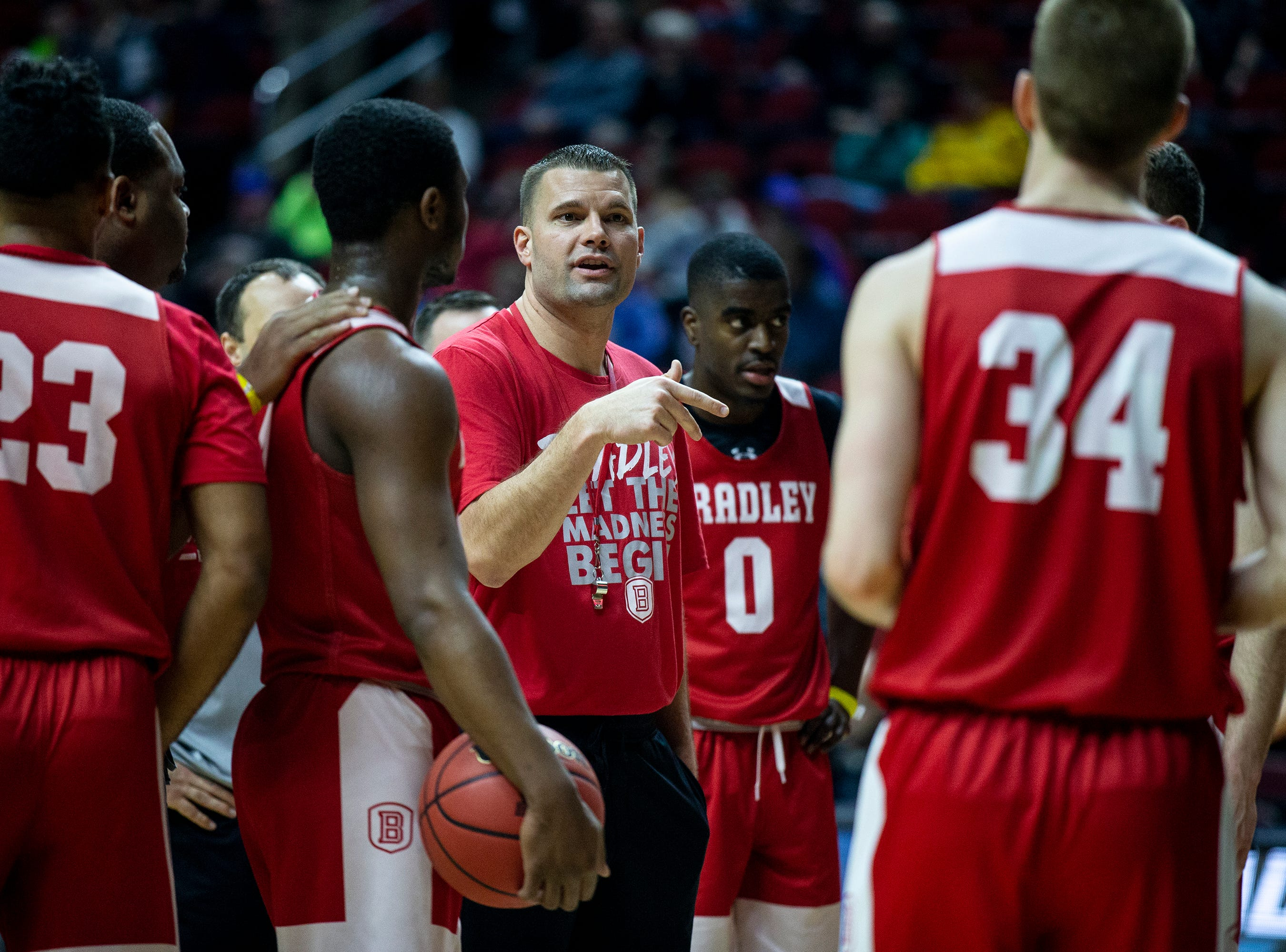 Bradley Head Coach Brian Wardle talks to his team during Bradley's open practice before the first round of the NCAA Men's Basketball Tournament on Wednesday, March 20, 2019, at Wells Fargo Arena in Des Moines, Iowa.