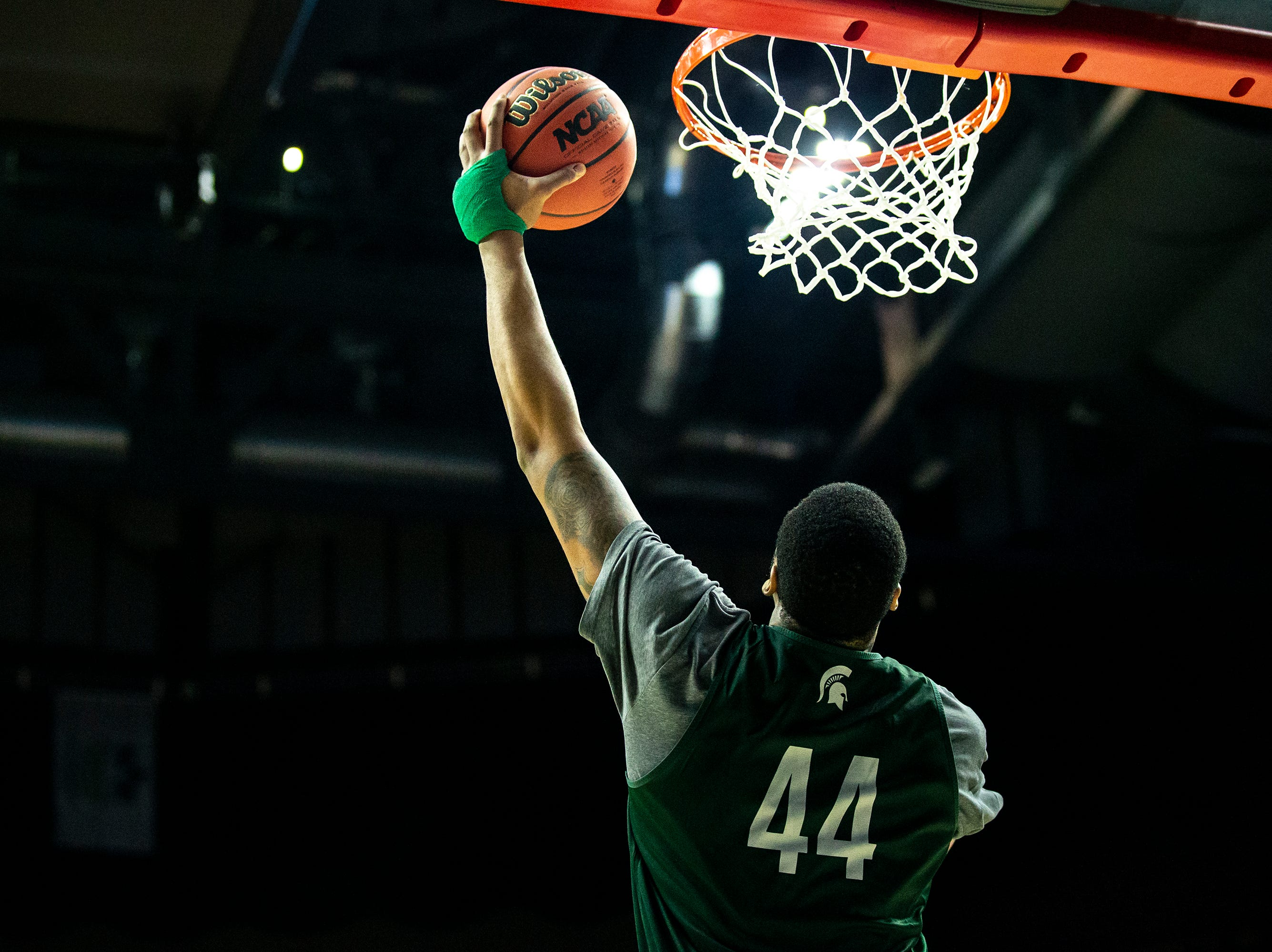Michigan State's Nick Ward shoots the ball during Michigan State's open practice before the first round of the NCAA Men's Basketball Tournament on Wednesday, March 20, 2019, at Wells Fargo Arena in Des Moines, Iowa.