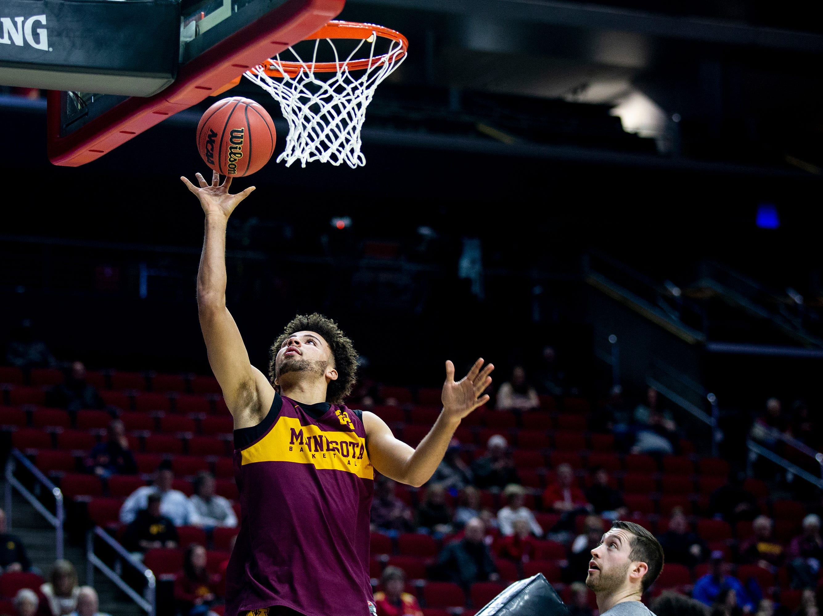 Minnesota's Gabe Kalscheur shoots a lay-up during Minnesota's open practice before the first round of the NCAA Men's Basketball Tournament on Wednesday, March 20, 2019, at Wells Fargo Arena in Des Moines, Iowa. Minnesota will face Louisville in the first round on Thursday.