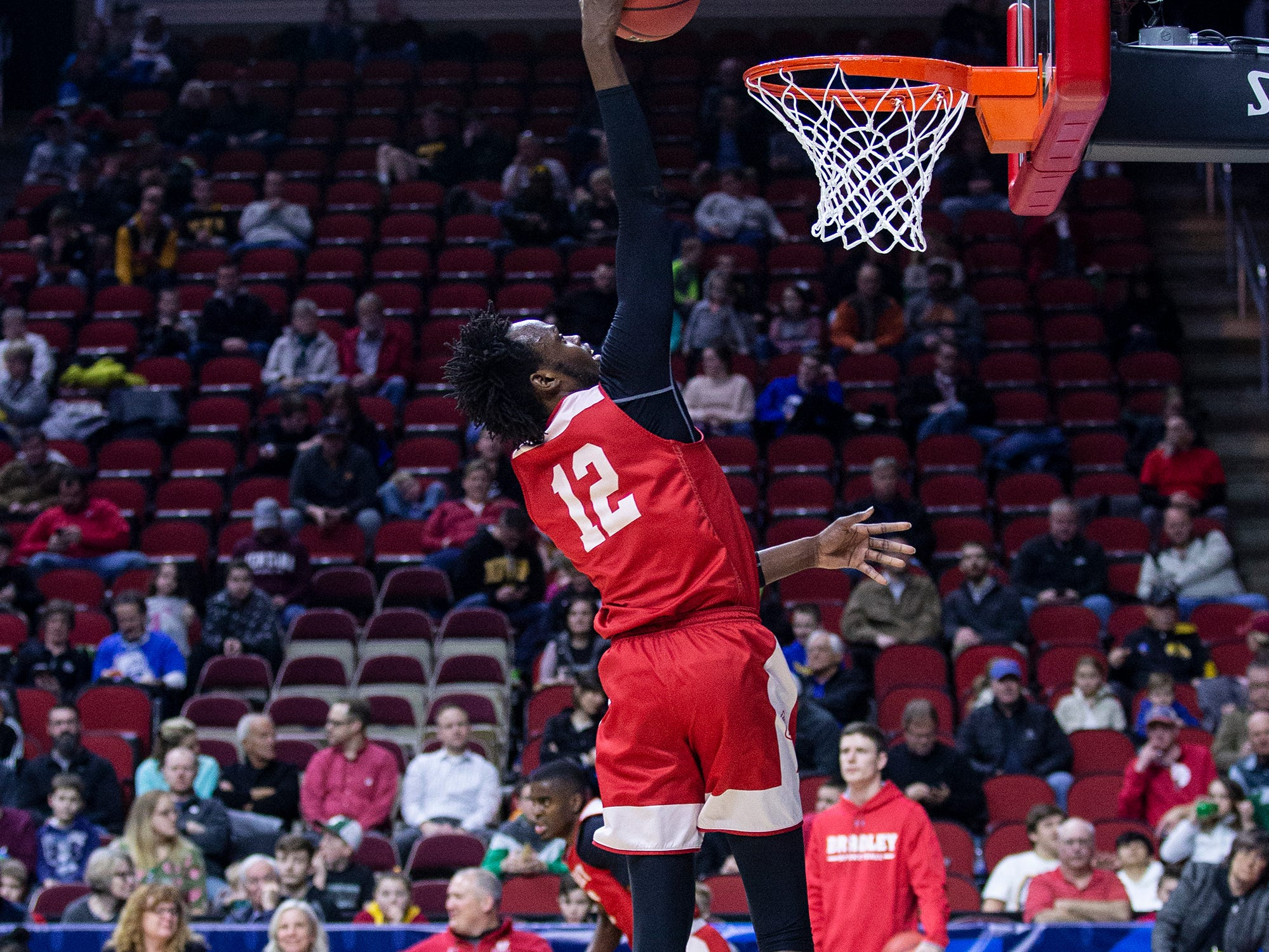 Bradley's Koch Bar shoots the ball during Bradley's open practice before the first round of the NCAA Men's Basketball Tournament on Wednesday, March 20, 2019, at Wells Fargo Arena in Des Moines, Iowa.
