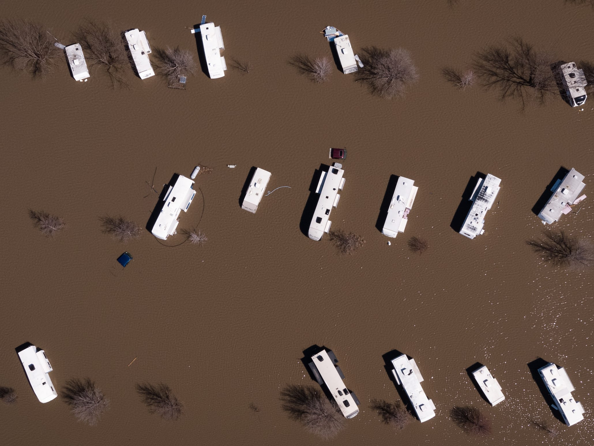 The I-29 Hwy 34 campground is swamped with water leaving RV's stranded at the intersection of Highway 34 and Interstate 29 on Wednesday, March 20, 2019, in Mills County.