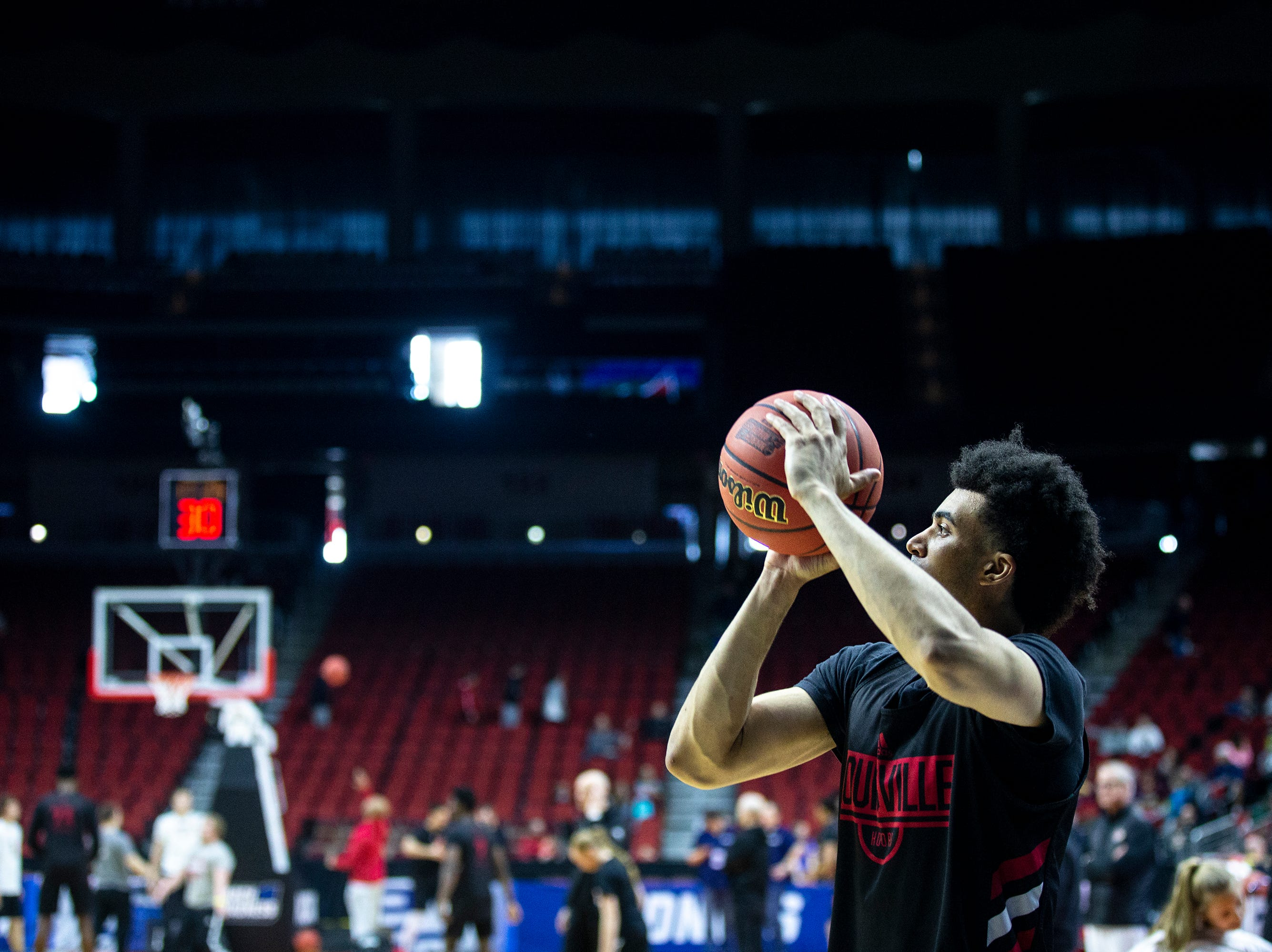 Louisville's Jordan Nwora shoots the ball during Louisville's open practice before the first round of the NCAA Men's Basketball Tournament on Wednesday, March 20, 2019, at Wells Fargo Arena in Des Moines, Iowa.