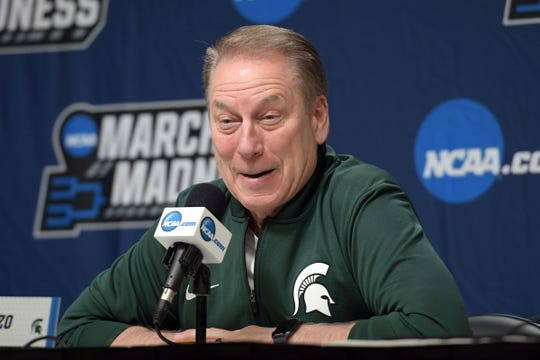 Michigan State coach Tom Izzo in a press conference during practice before the first round of the 2019 NCAA Tournament at Wells Fargo Arena on Wednesday, March 20, 2019.