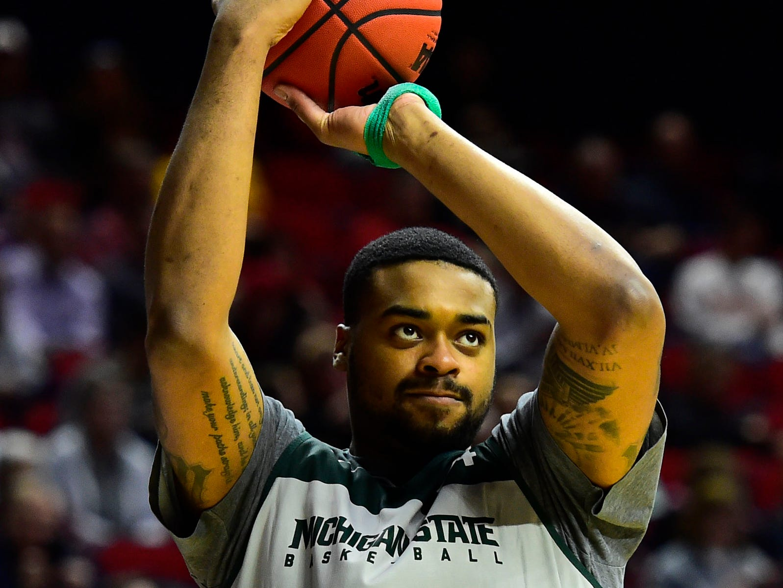 Mar 20, 2019; Des Moines, IA, USA; Michigan State Spartans forward Nick Ward (44) during practice before the first round of the 2019 NCAA Tournament at Wells Fargo Arena. Mandatory Credit: Steven Branscombe-USA TODAY Sports