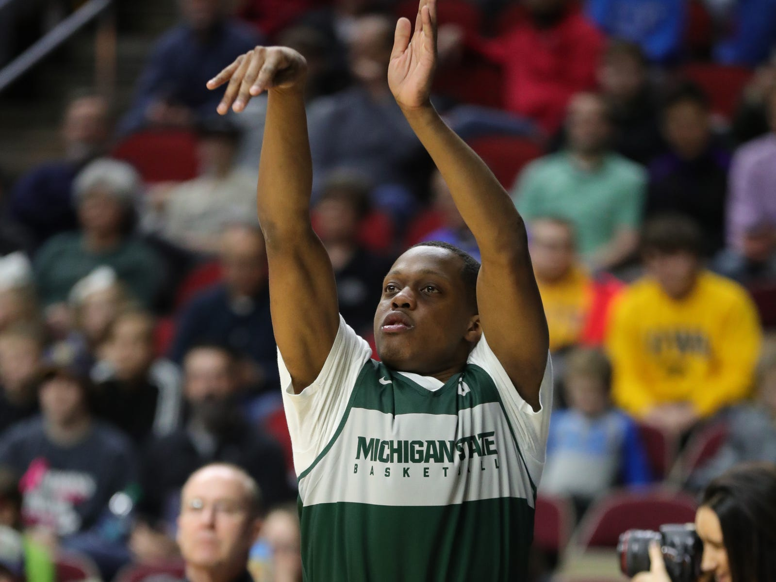 Michigan State guard Cassius Winston shoots jumpers as his team prepares for the first-round NCAA tournament game against Michigan State on Wednesday, March 20, 2019 at Wells Fargo Arena in Des Moines, Iowa.