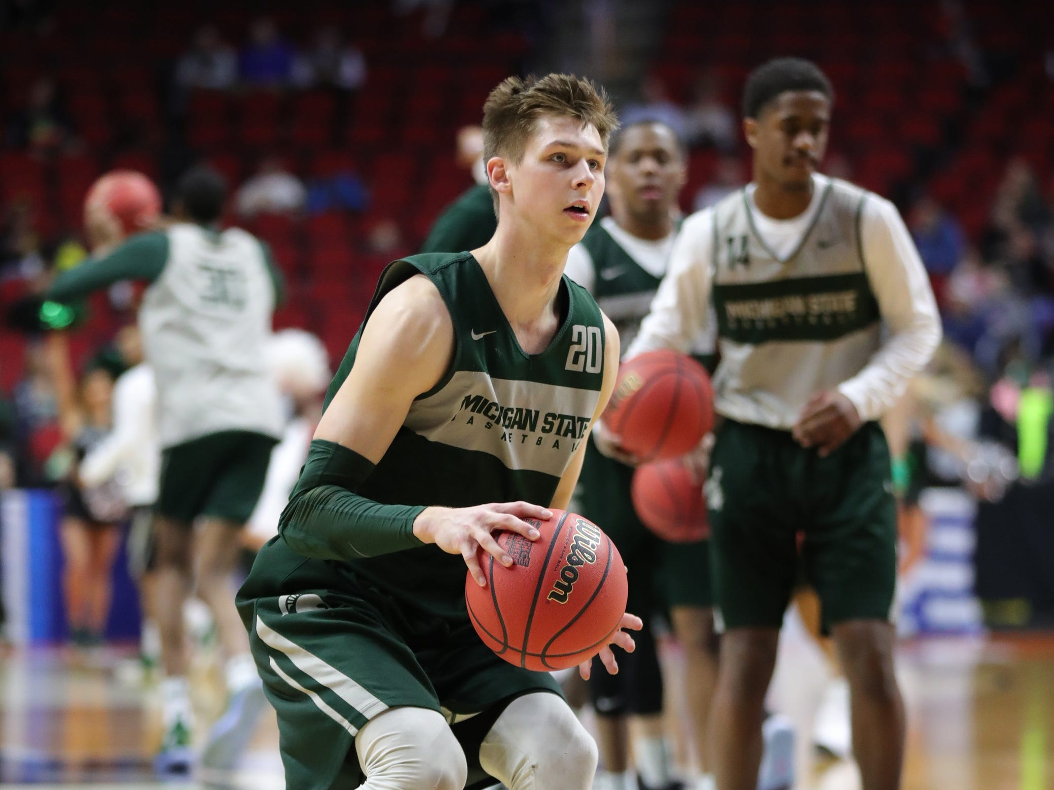 Michigan State guard Matt McQuaid goes through drills as his team prepares for the first-round NCAA tournament game against Michigan State on Wednesday, March 20, 2019 at Wells Fargo Arena in Des Moines, Iowa.