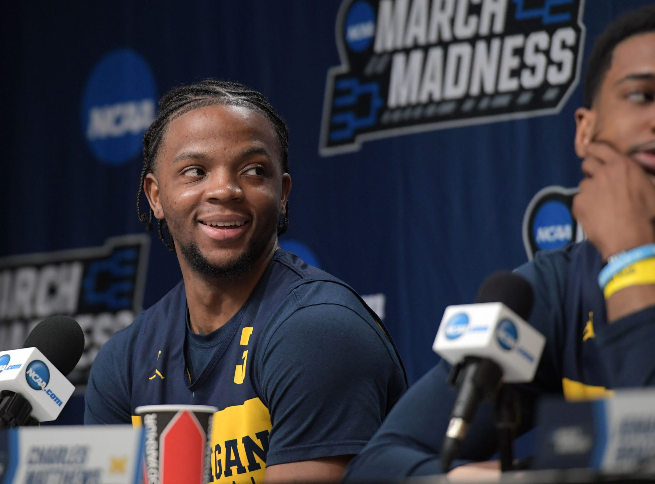 Mar 20, 2019; Des Moines, IA, USA; Michigan Wolverines guard Zavier Simpson (3)  during practice before the first round of the 2019 NCAA Tournament at Wells Fargo Arena. Mandatory Credit: Steven Branscombe-USA TODAY Sports