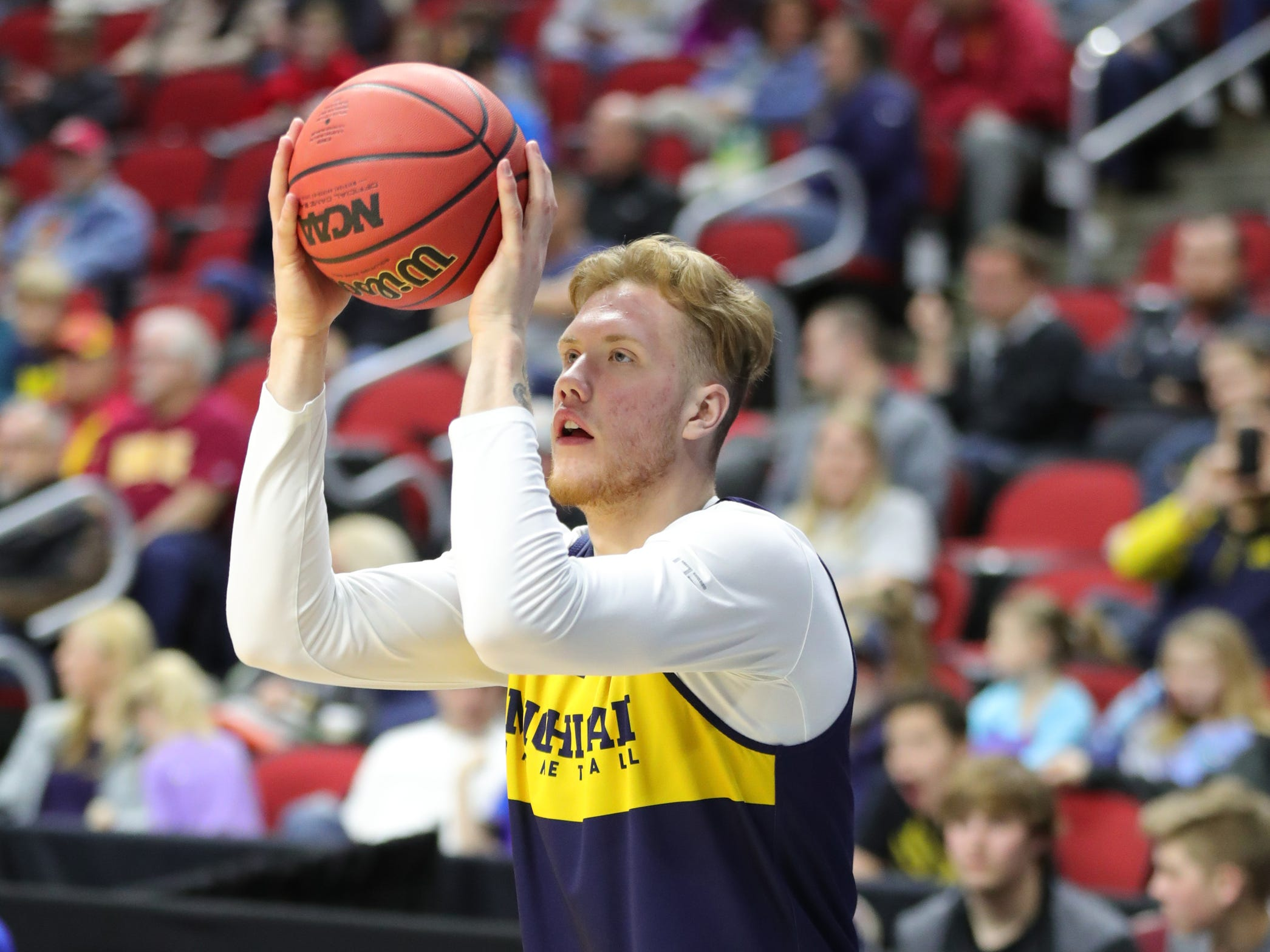 Michigan forward Ignas Brazdeikis shoots during practice for their first round NCAA Tournament game against Montana Wednesday, March 20, 2019 at Wells Fargo Arena in Des Moines, Iowa.