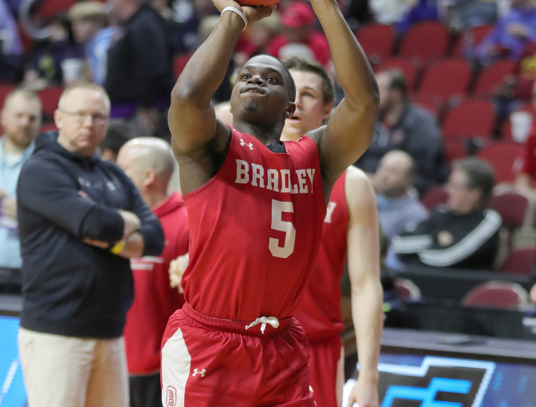Bradley guard Darrell Brown practices for the first-round NCAA tournament game against Michigan State on Wednesday, March 20, 2019 at Wells Fargo Arena in Des Moines, Iowa.