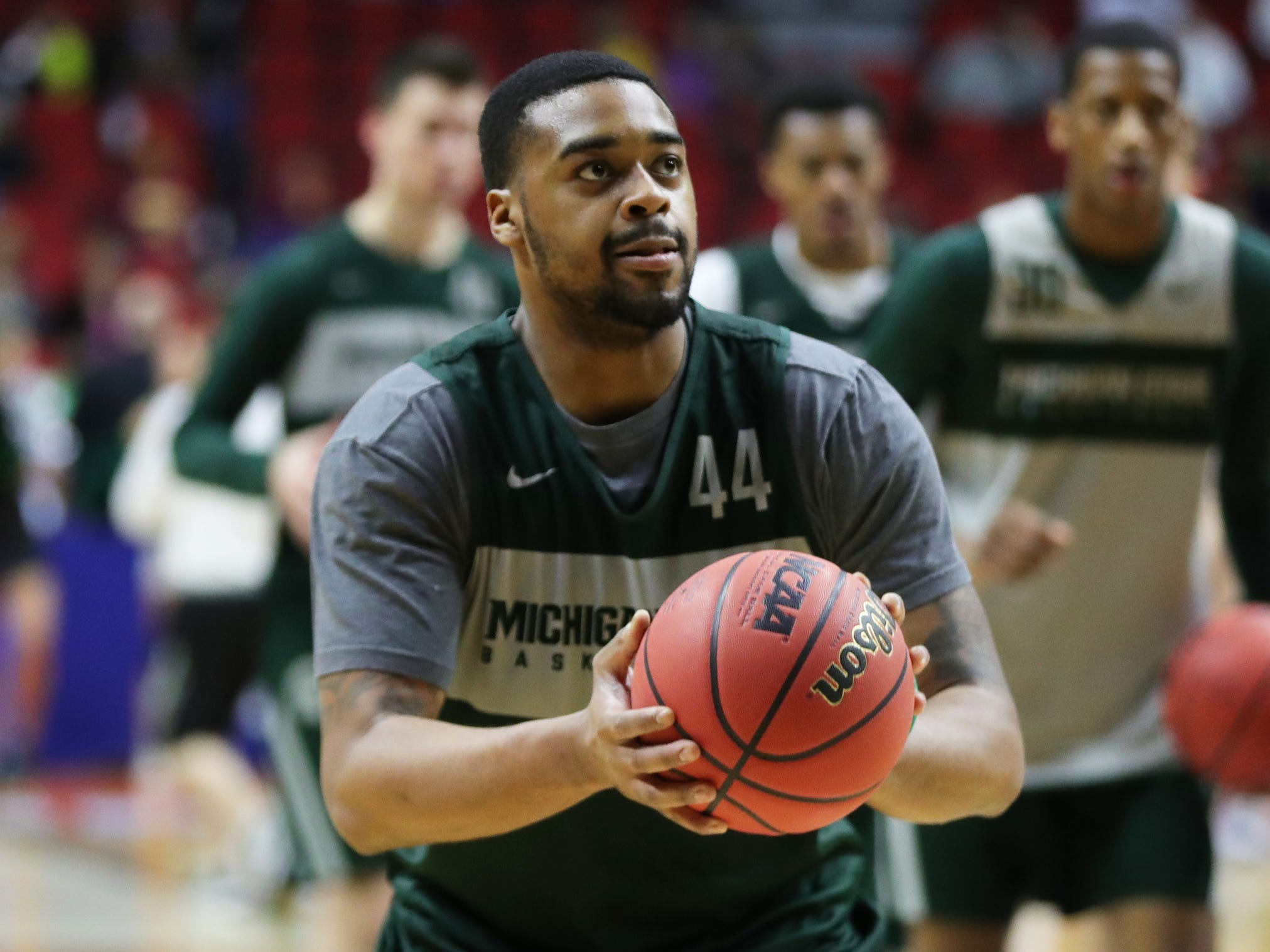 Michigan State forward Nick Ward shoots jumpers as his team prepares for the first-round NCAA tournament game against Michigan State on Wednesday, March 20, 2019 at Wells Fargo Arena in Des Moines, Iowa.