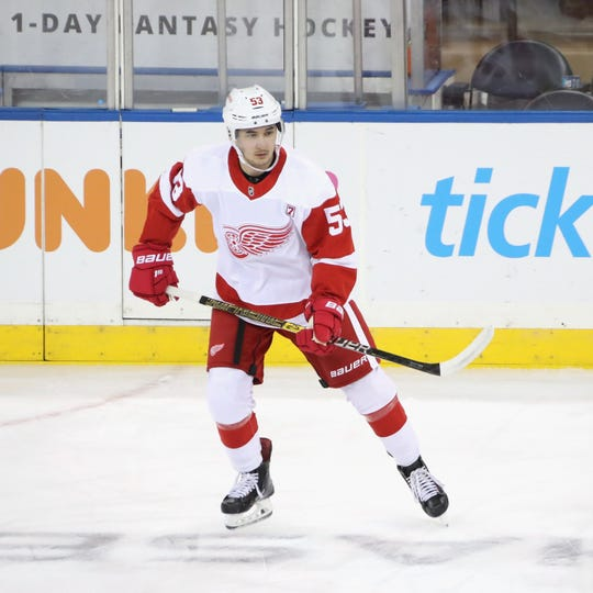 Taro Hirose of the Detroit Red Wings skates in warm-ups prior to playing in his first NHL against the New York Rangers at Madison Square Garden on March 19, 2019 in New York City.
