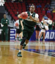 Michigan State guard Cassius Winston goes through drills as his team prepares for the first-round NCAA tournament game against Michigan State on Wednesday, March 20, 2019 at Wells Fargo Arena in Des Moines, Iowa.
