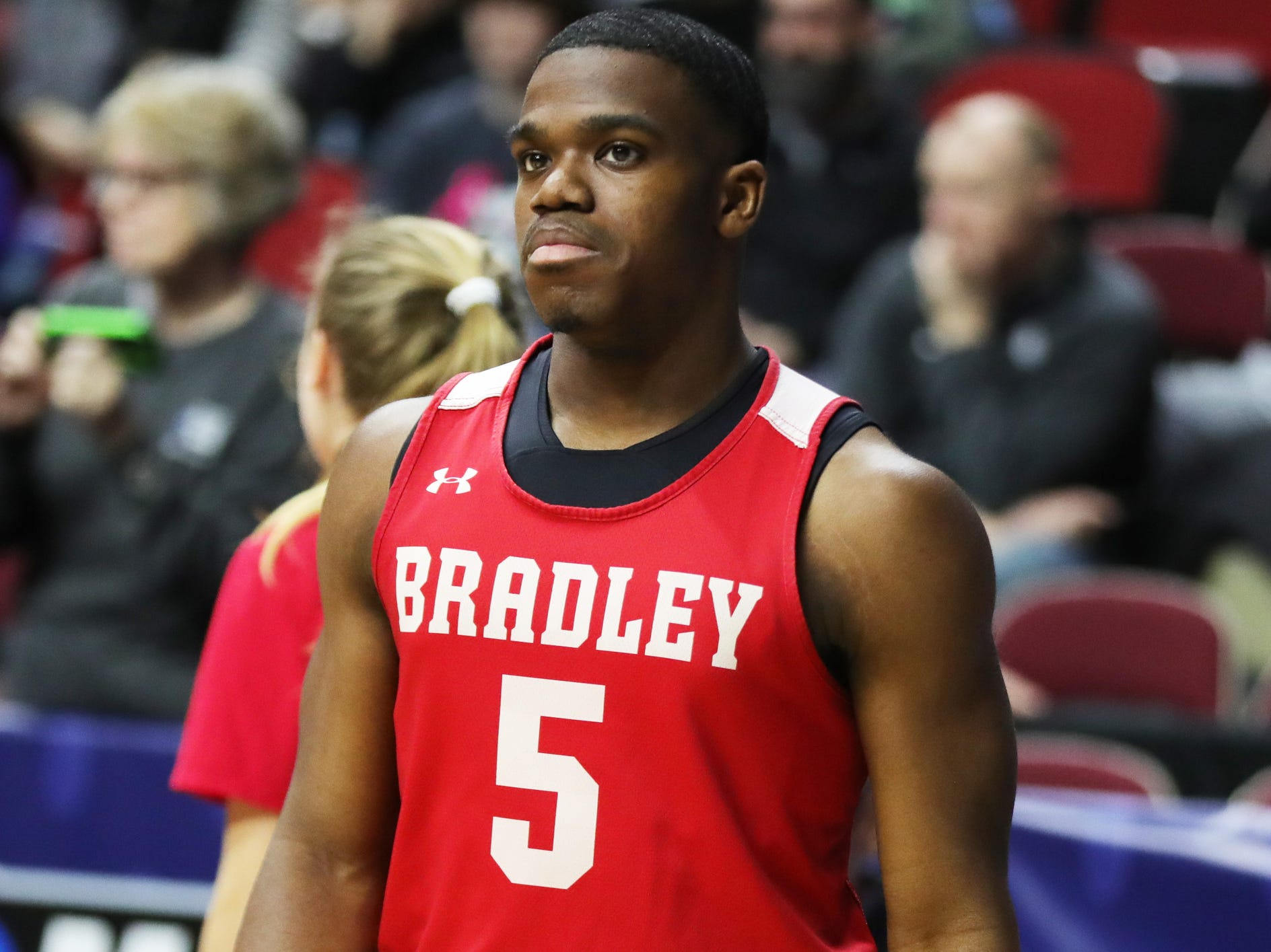 Bradley guard Darrell Brown practices for his team's first-round NCAA tournament game against Michigan State on Wednesday, March 20, 2019 at Wells Fargo Arena in Des Moines, Iowa.