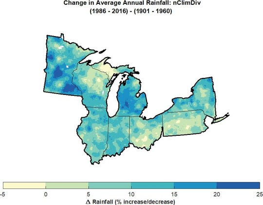 Precipitation has increased significantly in the Great Lakes region over the past 30 years, in comparison to a period from 1901 to 1960, National Oceanic and Atmospheric Administration historical data reveals.