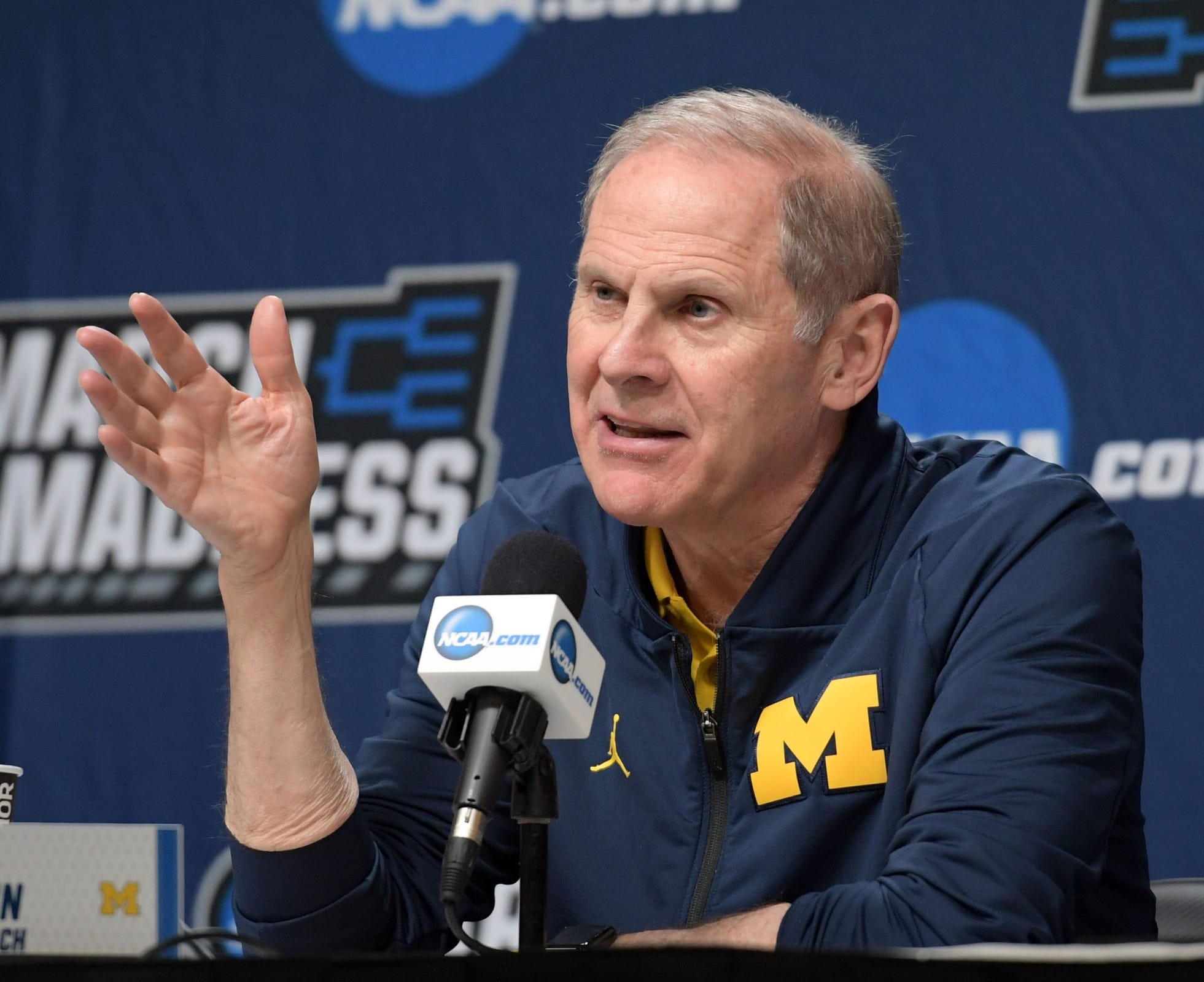Michigan coach John Beilein speaks in a press conference during practice before the first round of the 2019 NCAA Tournament at Wells Fargo Arena on Wednesday, March 20, 2019.