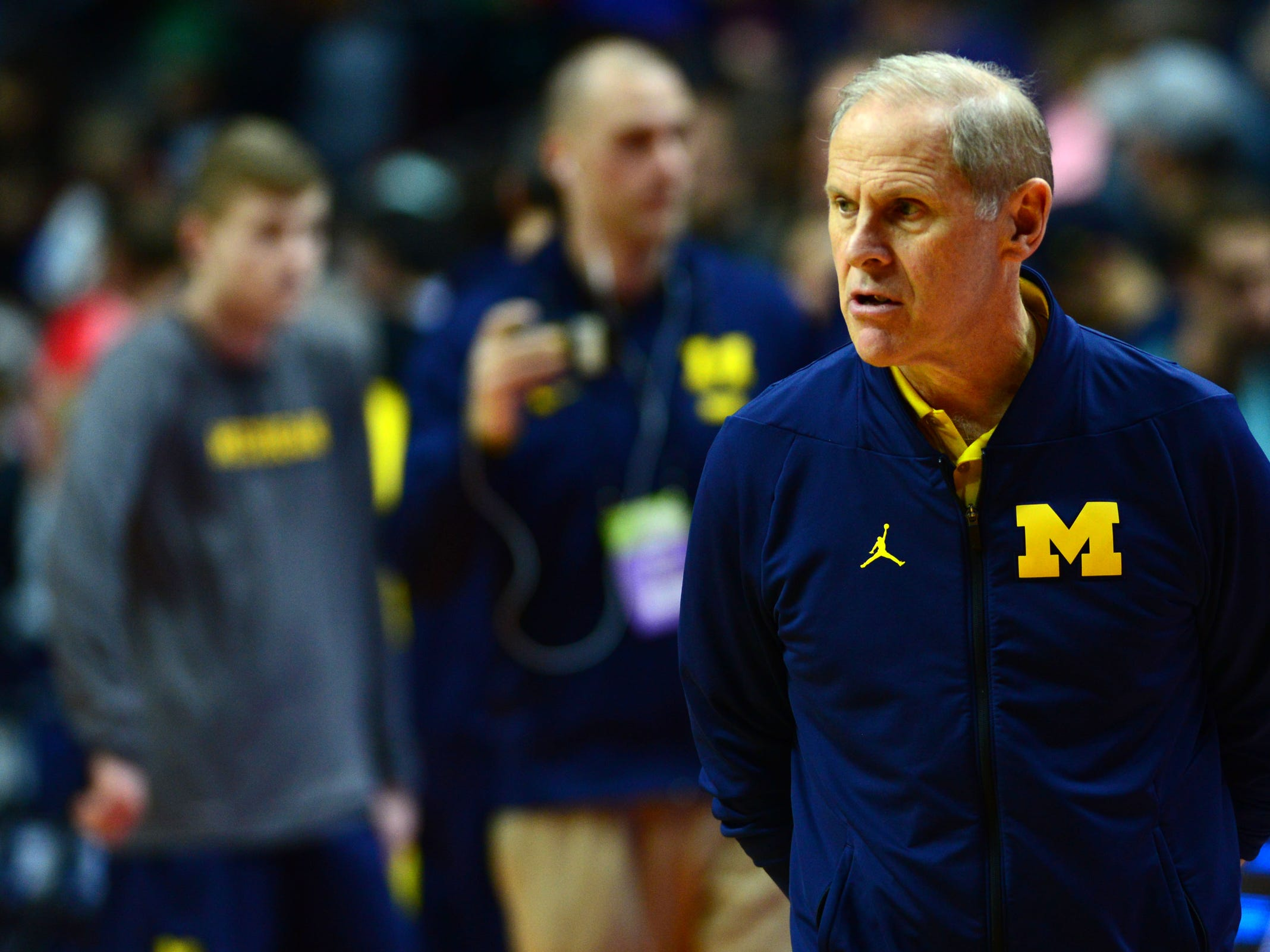 Mar 20, 2019; Des Moines, IA, USA; Michigan Wolverines head coach John Beilein during practice before the first round of the 2019 NCAA Tournament at Wells Fargo Arena. Mandatory Credit: Jeffrey Becker-USA TODAY Sports