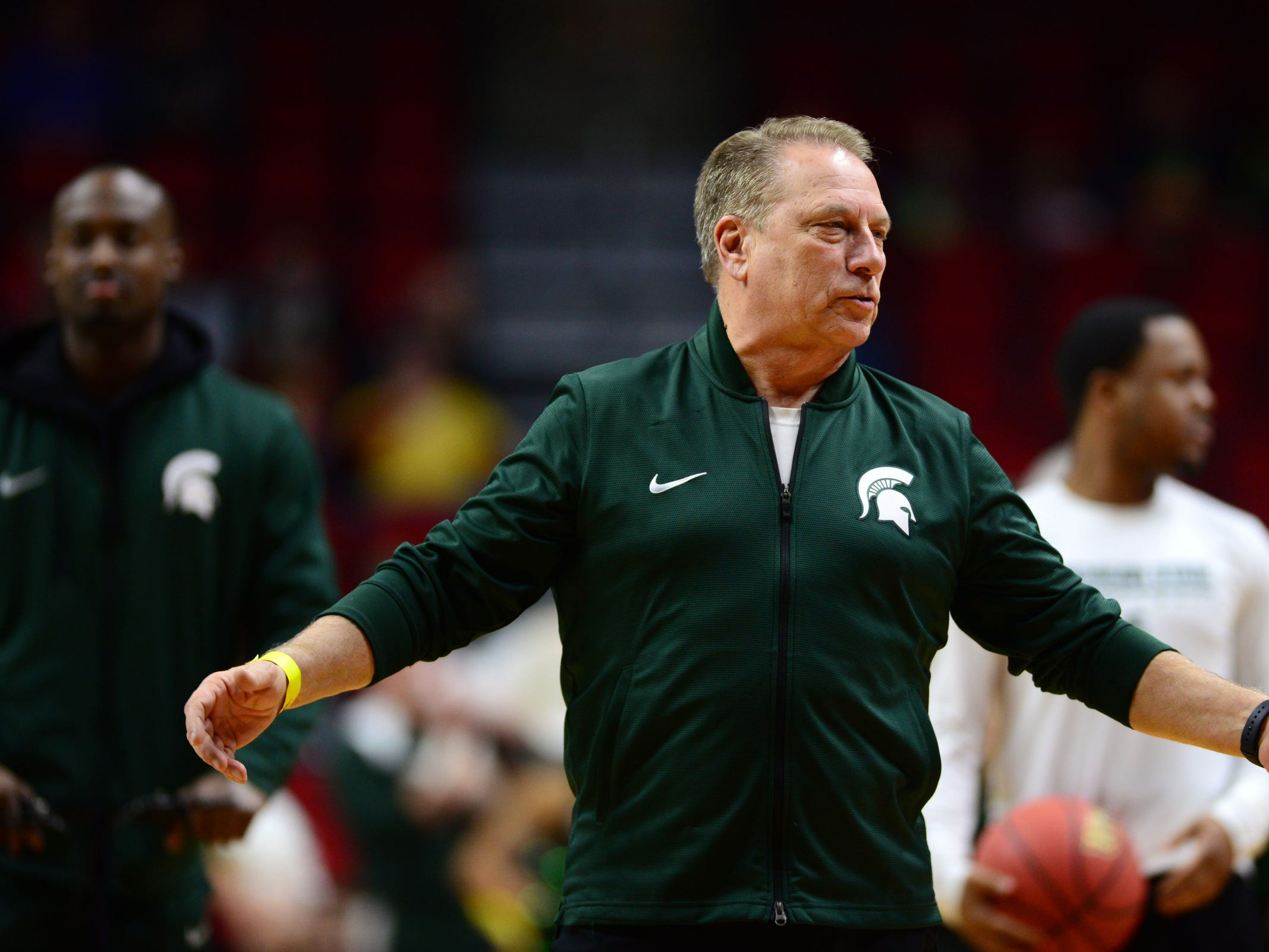 Mar 20, 2019; Des Moines, IA, USA; Michigan State Spartans head coach Tom Izzo during practice before the first round of the 2019 NCAA Tournament at Wells Fargo Arena. Mandatory Credit: Steven Branscombe-USA TODAY Sports