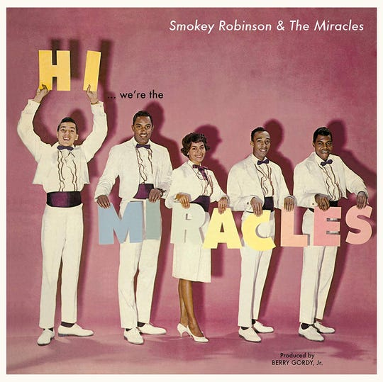 "The Miracles' 1961 Motown debut album, ""Hi ... we're the Miracles."" These suits will be on display at the LBJ Presidential Library."