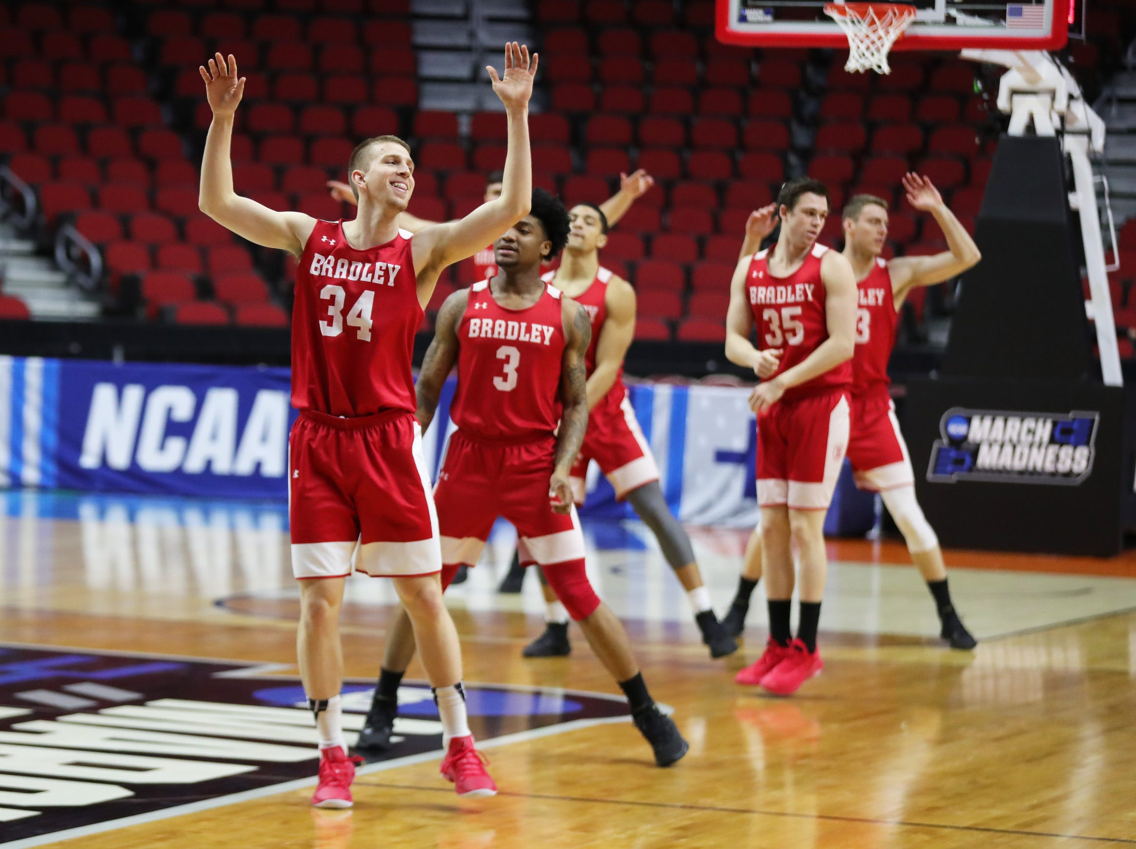 Bradley players workout for workout for their first-round NCAA tournament game against Michigan State on Wednesday, March 20, 2019 at Wells Fargo Arena in Des Moines, Iowa.