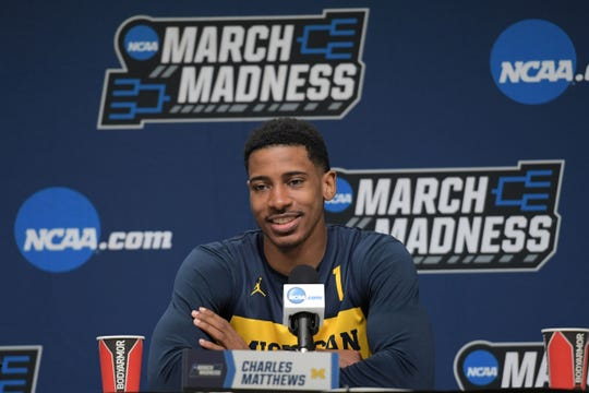 Mar 20, 2019; Des Moines, IA, USA; Michigan Wolverines guard Charles Matthews (1) speaks in press conference during practice before the first round of the 2019 NCAA Tournament at Wells Fargo Arena. Mandatory Credit: Steven Branscombe-USA TODAY Sports