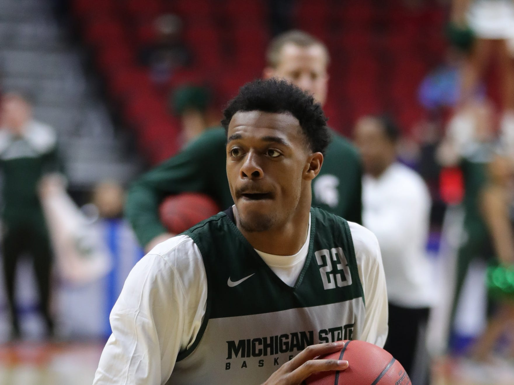 Michigan State forward Xavier Tillman goes through drills for the first-round NCAA tournament game against Michigan State on Wednesday, March 20, 2019 at Wells Fargo Arena in Des Moines, Iowa.