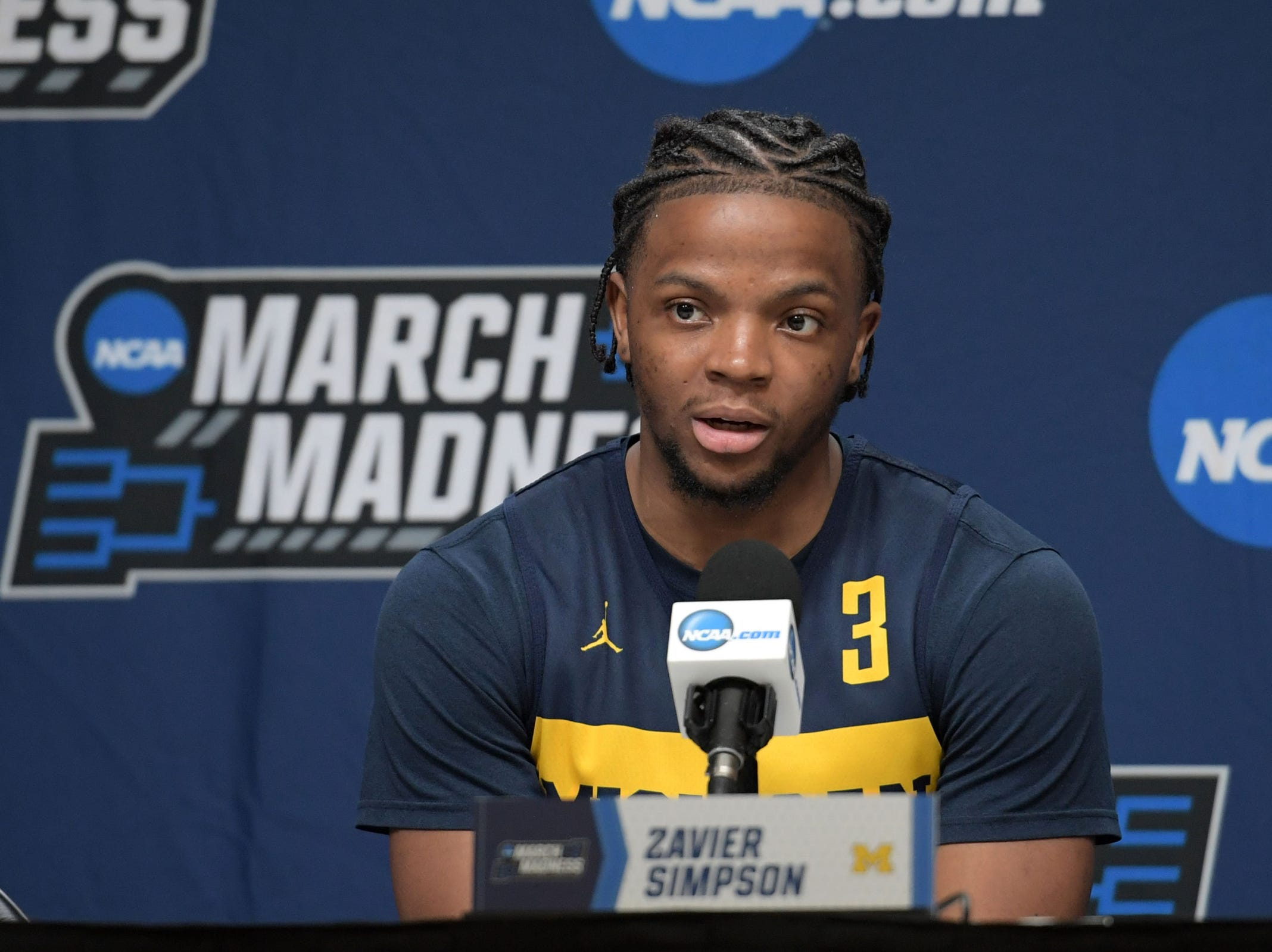 Mar 20, 2019; Des Moines, IA, USA; Michigan Wolverines guard Zavier Simpson (3) speaks in a press conference during practice before the first round of the 2019 NCAA Tournament at Wells Fargo Arena. Mandatory Credit: Steven Branscombe-USA TODAY Sports