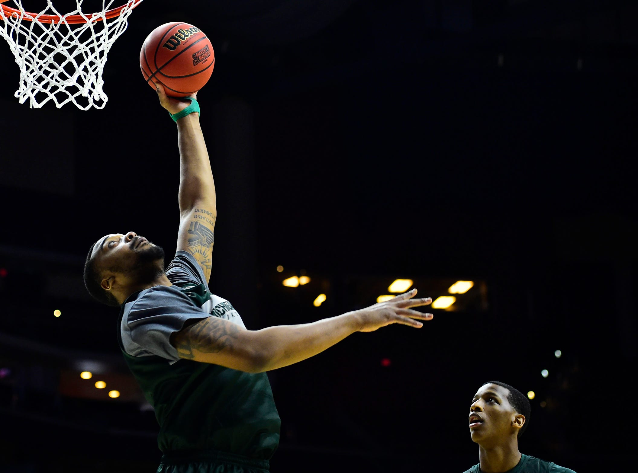 Mar 20, 2019; Des Moines, IA, USA; Michigan State Spartans forward Nick Ward (44) dunks the ball during practice before the first round of the 2019 NCAA Tournament at Wells Fargo Arena. Mandatory Credit: Steven Branscombe-USA TODAY Sports