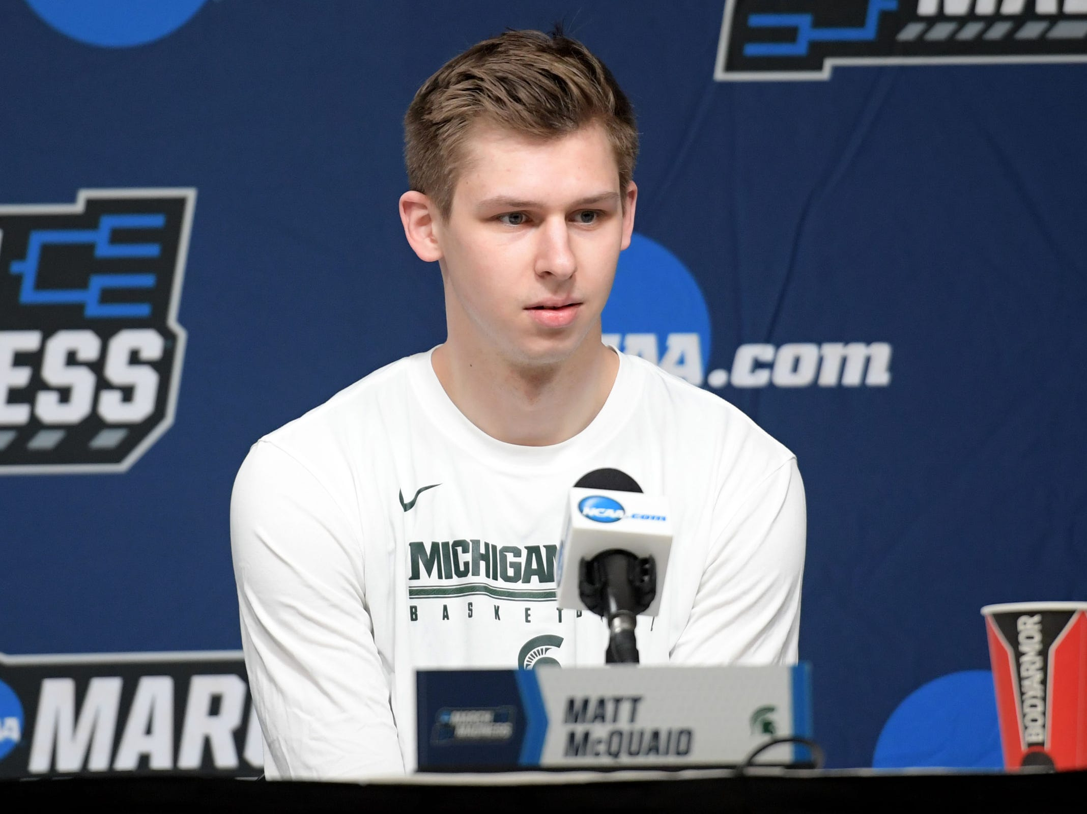 Mar 20, 2019; Des Moines, IA, USA; Michigan State Spartans guard Matt McQuaid (20) speaks in a press conference during practice before the first round of the 2019 NCAA Tournament at Wells Fargo Arena. Mandatory Credit: Steven Branscombe-USA TODAY Sports