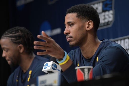 Mar 20, 2019; Des Moines, IA, USA; Michigan Wolverines guard Charles Matthews (1) speaks in a press conference during practice before the first round of the 2019 NCAA Tournament at Wells Fargo Arena. Mandatory Credit: Steven Branscombe-USA TODAY Sports