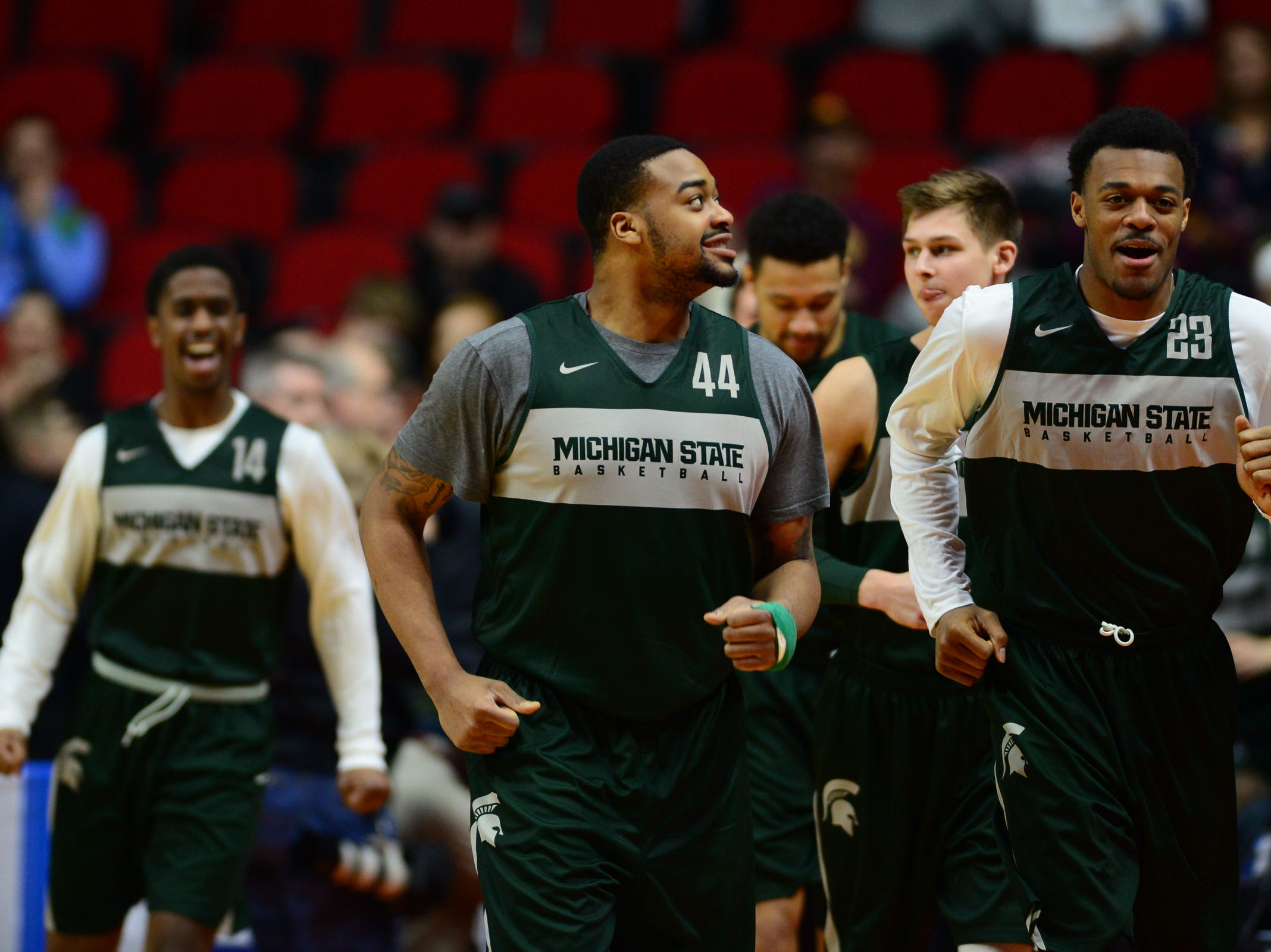 Mar 20, 2019; Des Moines, IA, USA; Michigan State Spartans forward Nick Ward (44) and Michigan State Spartans forward Xavier Tillman (23) during practice before the first round of the 2019 NCAA Tournament at Wells Fargo Arena. Mandatory Credit: Steven Branscombe-USA TODAY Sports