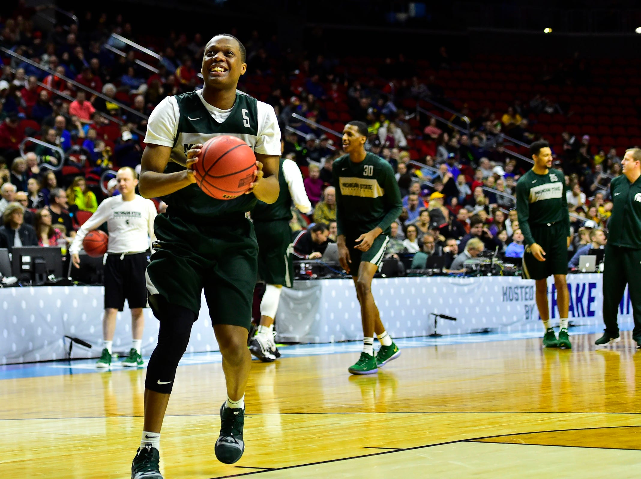 Mar 20, 2019; Des Moines, IA, USA; Michigan State Spartans guard Cassius Winston (5) shoots the ball during practice before the first round of the 2019 NCAA Tournament at Wells Fargo Arena. Mandatory Credit: Steven Branscombe-USA TODAY Sports