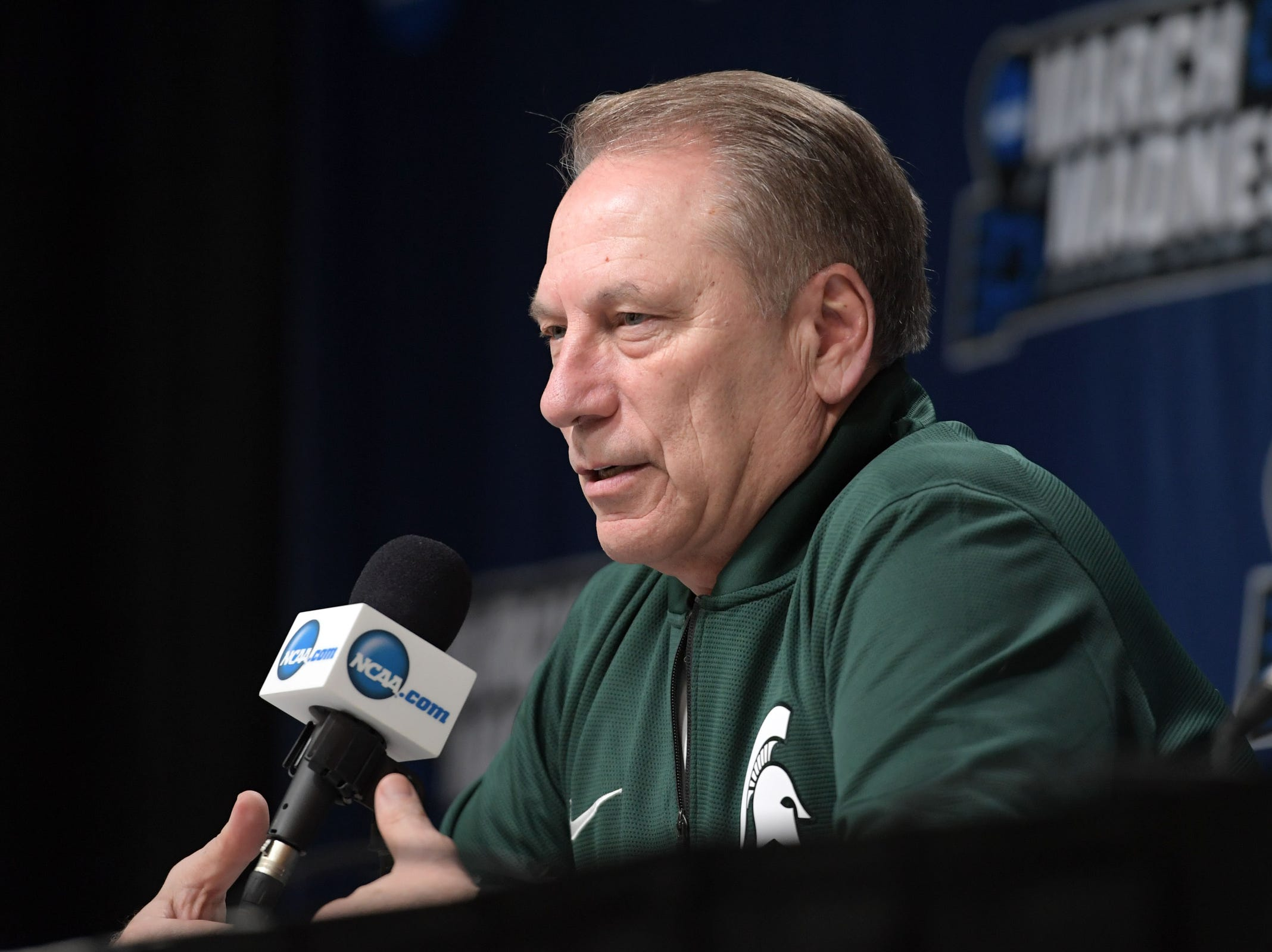 Mar 20, 2019; Des Moines, IA, USA; Michigan State Spartans head coach Tom Izzo in a press conference during practice before the first round of the 2019 NCAA Tournament at Wells Fargo Arena. Mandatory Credit: Steven Branscombe-USA TODAY Sports