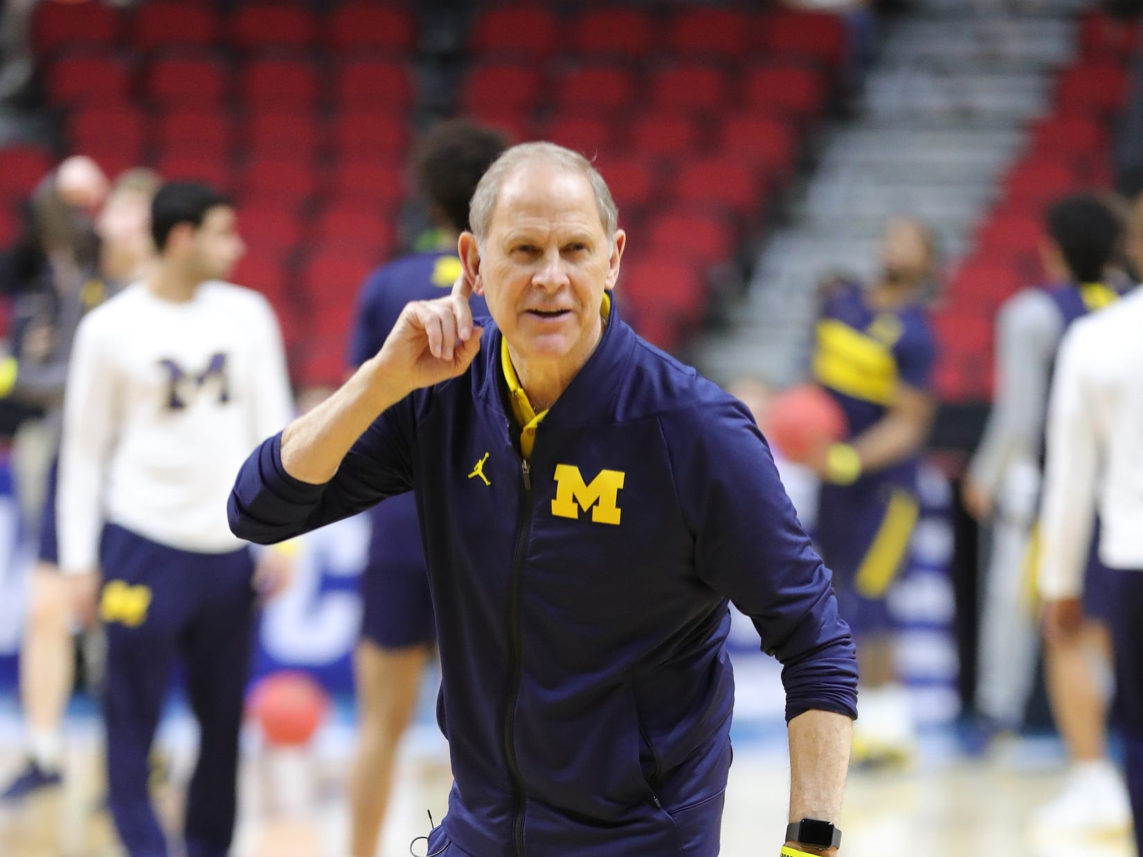Michigan head coach John Beilein watches his team practice for their first round NCAA Tournament game against Montana Wednesday, March 20, 2019 at Wells Fargo Arena in Des Moines, Iowa.