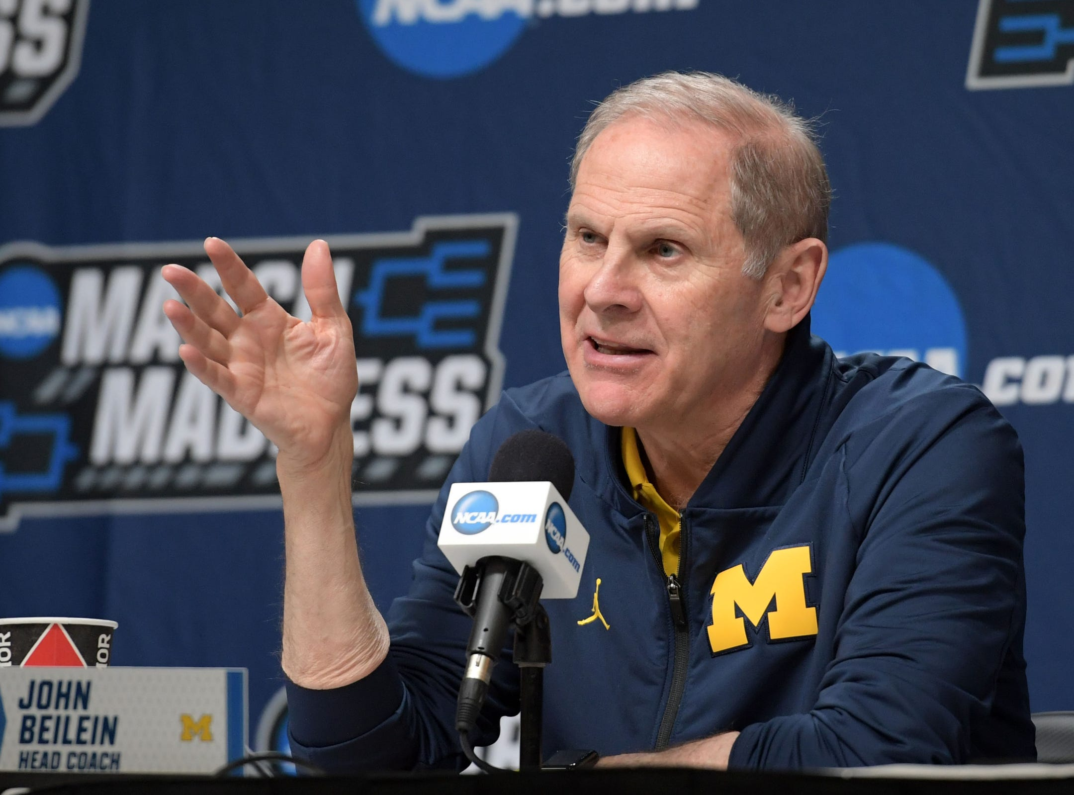 Mar 20, 2019; Des Moines, IA, USA; Michigan Wolverines head coach John Beilein speaks in a press conference during practice before the first round of the 2019 NCAA Tournament at Wells Fargo Arena. Mandatory Credit: Steven Branscombe-USA TODAY Sports