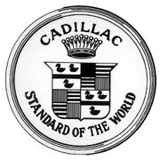 The 1908 Cadillac crest modeled after the founder's coat of arms showing the black merlette birds. The Cadillac Blackwing engine derives its name from this crest.