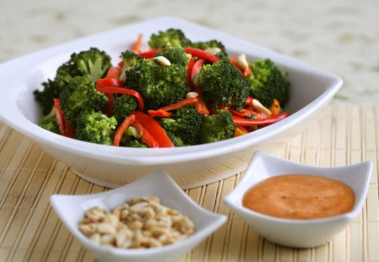 Steamed Broccoli and Red Peppers with Peanut Sauce