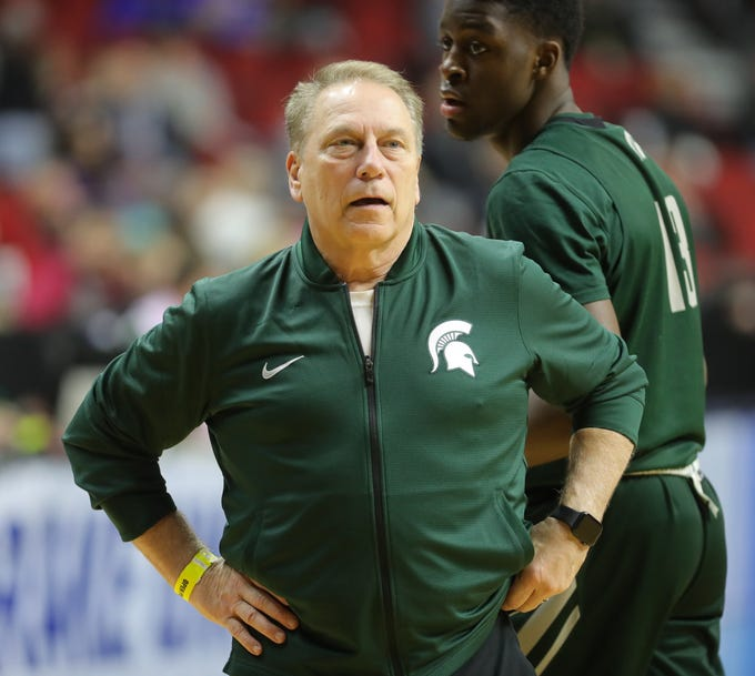 Michigan State head coach Tom Izzo watches drills for the first-round NCAA tournament game against Michigan State on Wednesday, March 20, 2019 at Wells Fargo Arena in Des Moines, Iowa.