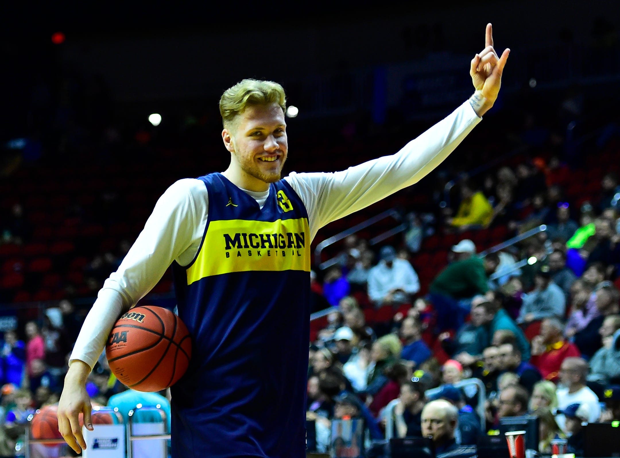 Mar 20, 2019; Des Moines, IA, USA; Michigan Wolverines forward Ignas Brazdeikis (13) during practice before the first round of the 2019 NCAA Tournament at Wells Fargo Arena. Mandatory Credit: Jeffrey Becker-USA TODAY Sports