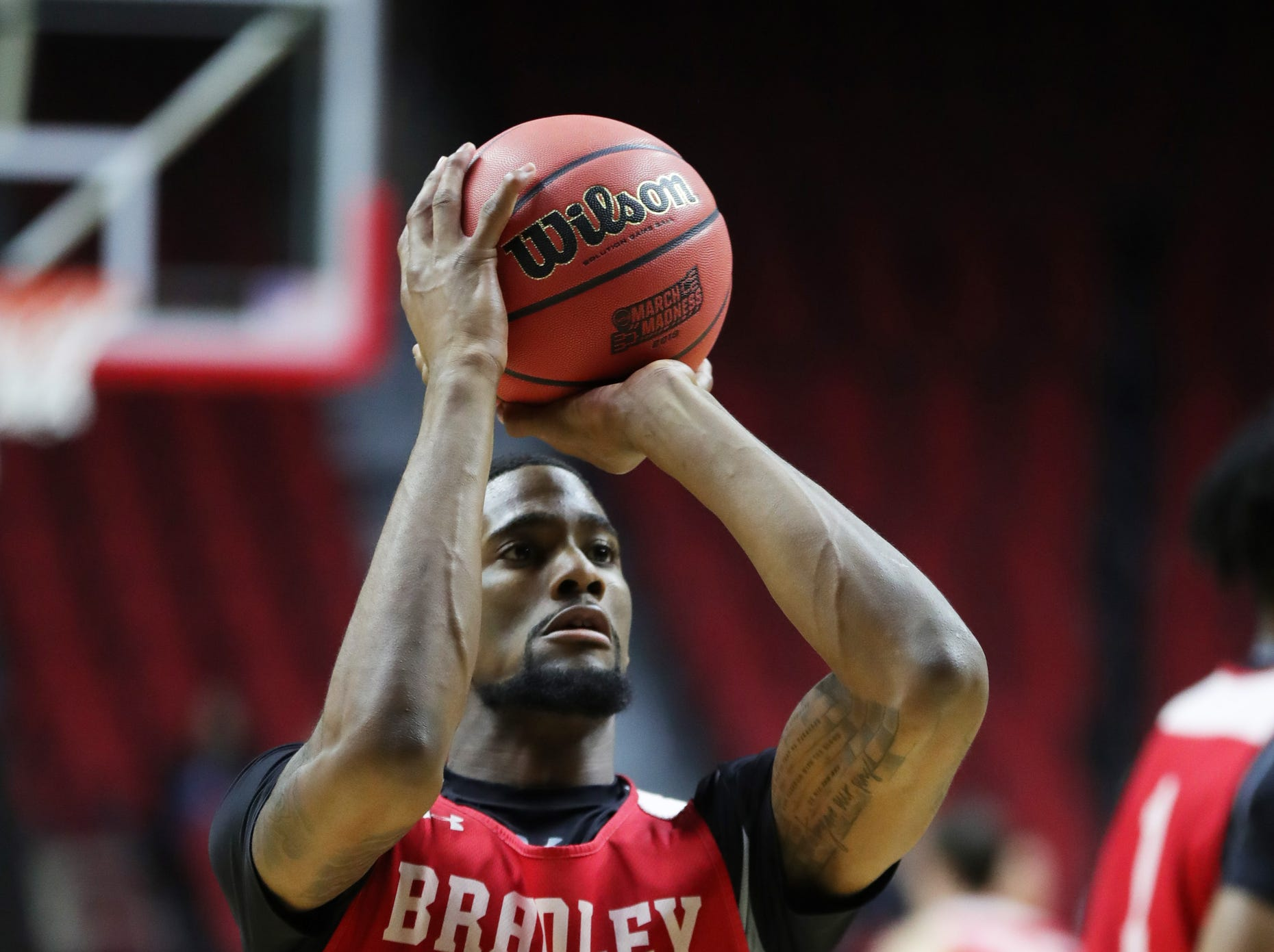 Bradley's Elijah Childs practices for the first-round NCAA tournament game against Michigan State on Wednesday, March 20, 2019 at Wells Fargo Arena in Des Moines, Iowa.