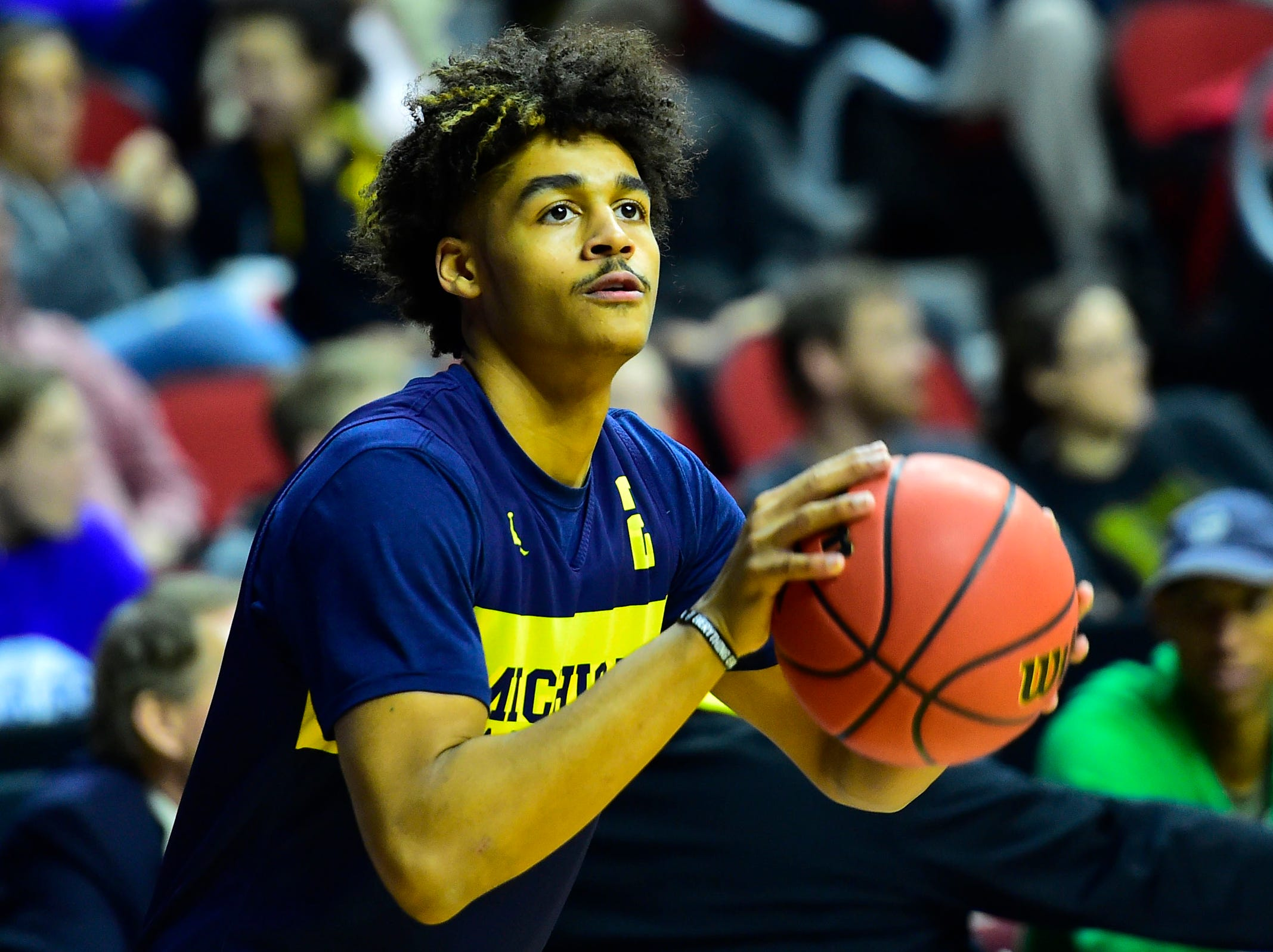 Mar 20, 2019; Des Moines, IA, USA; Michigan Wolverines guard Jordan Poole (2) shoots the ball during practice before the first round of the 2019 NCAA Tournament at Wells Fargo Arena. Mandatory Credit: Jeffrey Becker-USA TODAY Sports