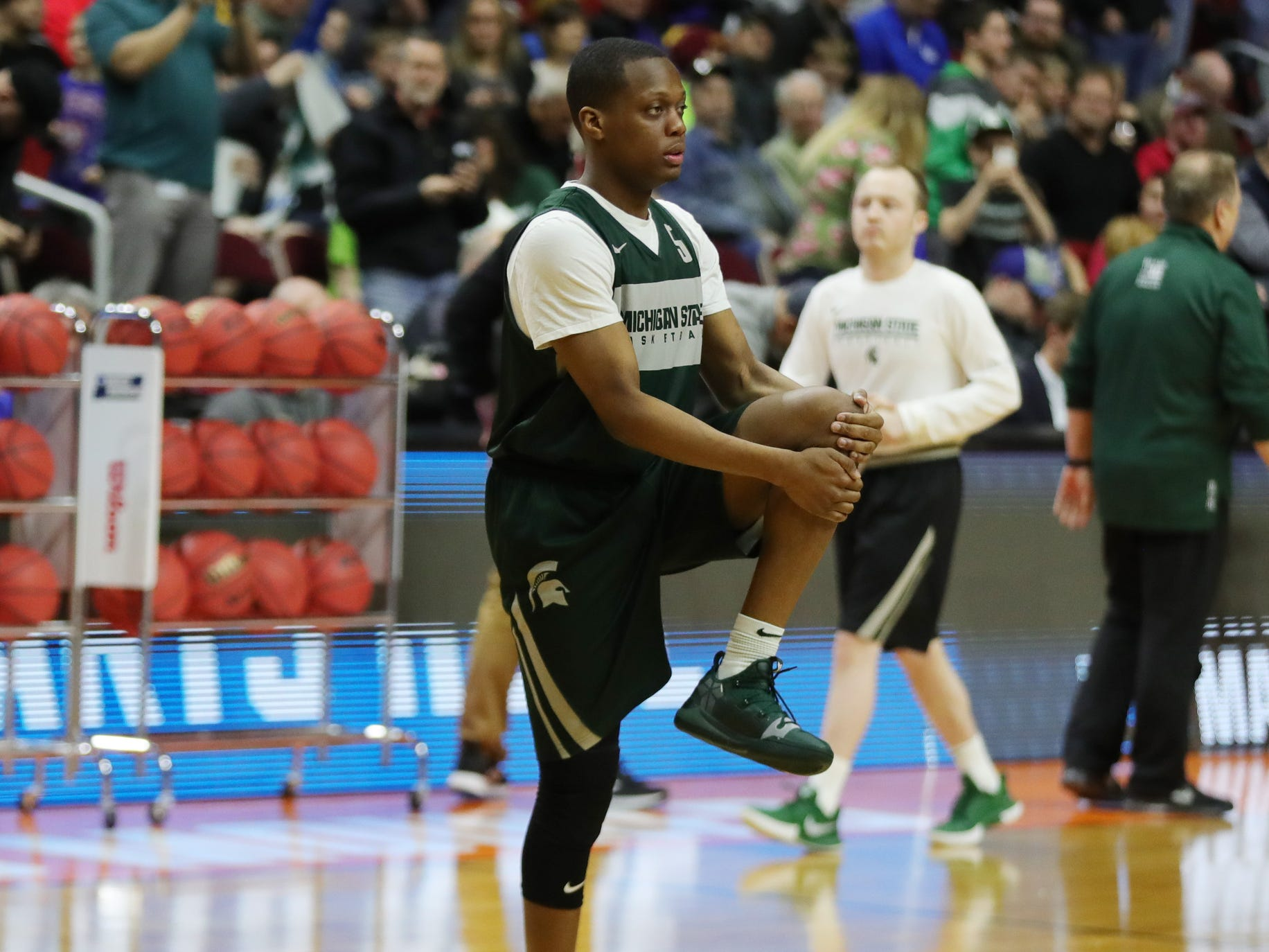 Michigan State guard Cassius Winston goes through drills for the first-round NCAA tournament game against Michigan State on Wednesday, March 20, 2019 at Wells Fargo Arena in Des Moines, Iowa.