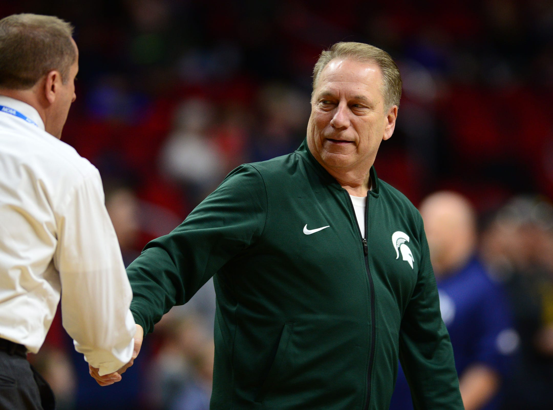 Mar 20, 2019; Des Moines, IA, USA; Michigan State Spartans head coach Tom Izzo during practice before the first round of the 2019 NCAA Tournament at Wells Fargo Arena. Mandatory Credit: Jeffrey Becker-USA TODAY Sports