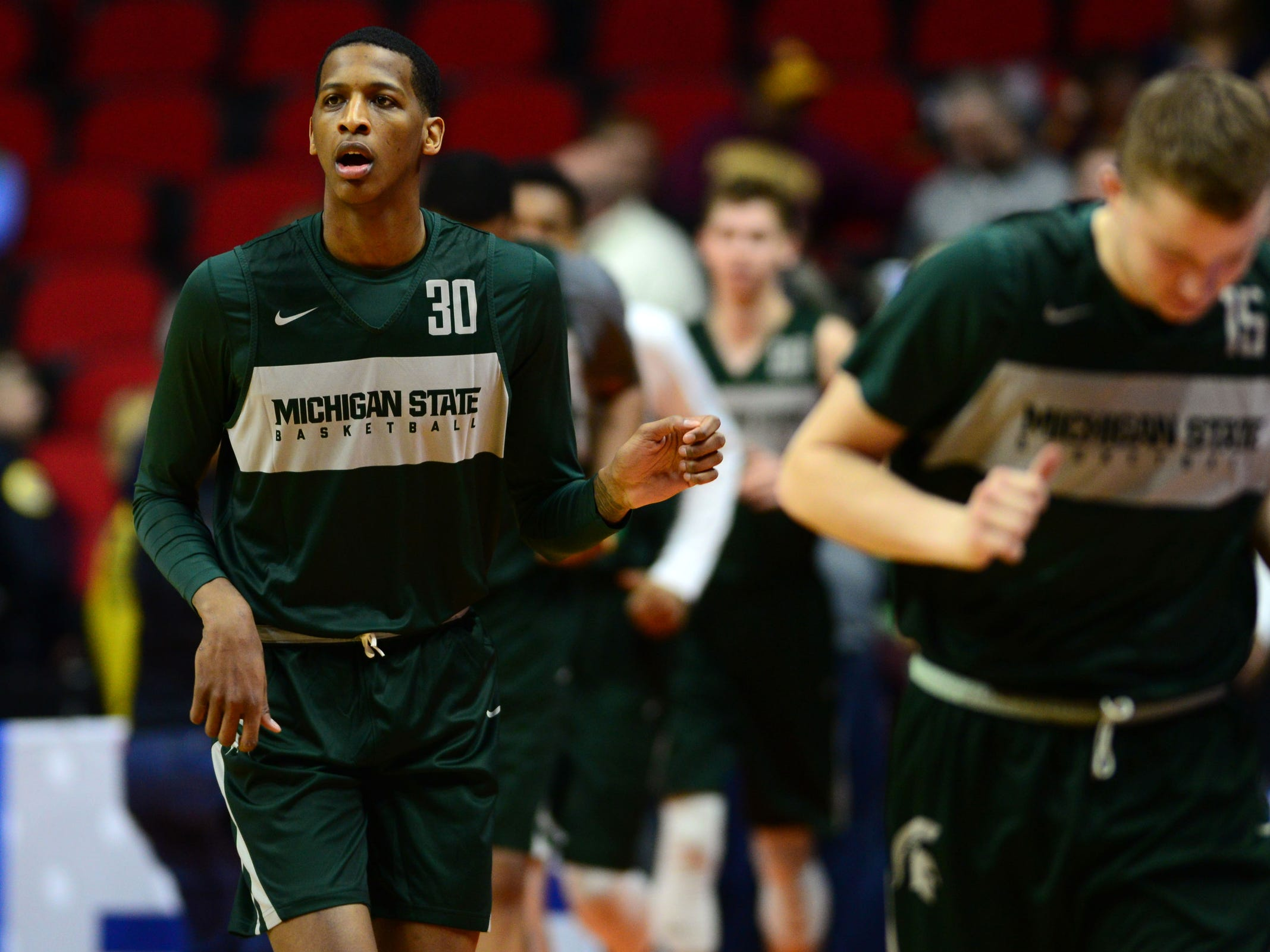 Mar 20, 2019; Des Moines, IA, USA; Michigan State Spartans forward Marcus Bingham Jr. (30) during practice before the first round of the 2019 NCAA Tournament at Wells Fargo Arena. Mandatory Credit: Steven Branscombe-USA TODAY Sports