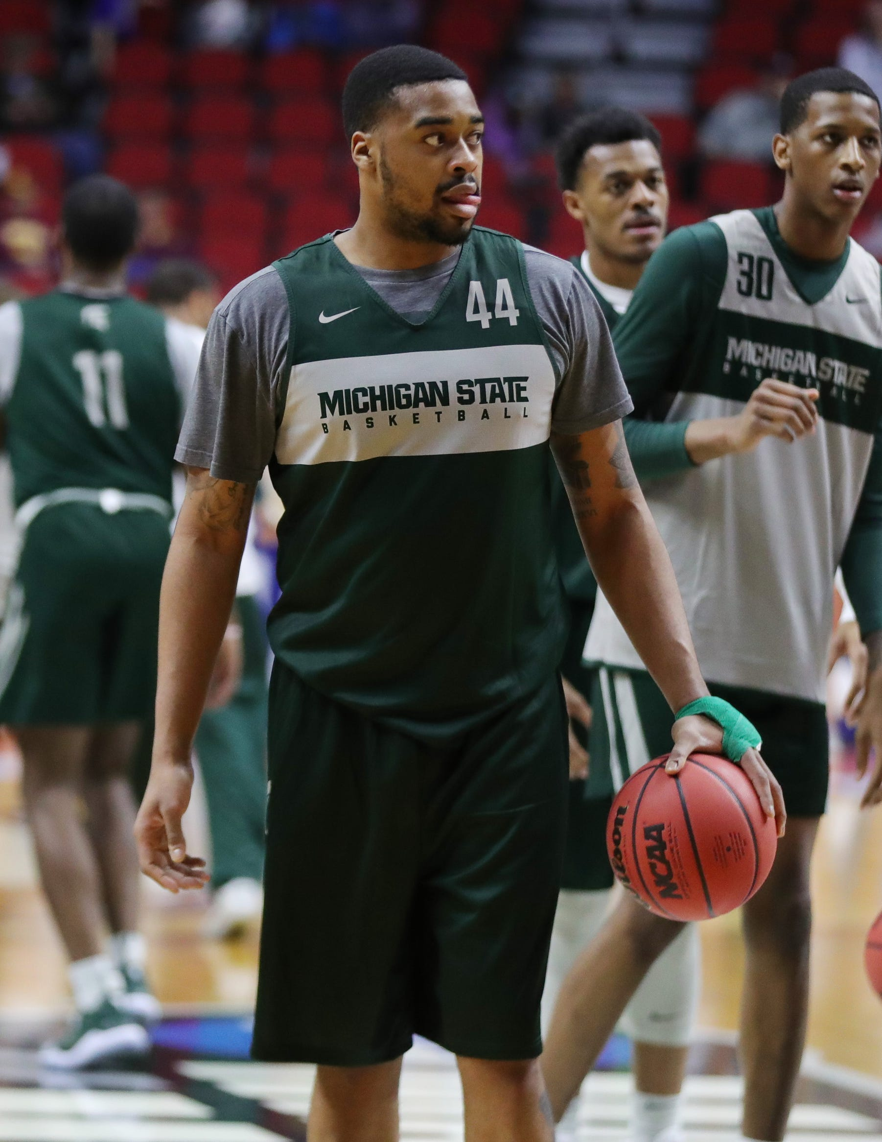 Michigan State forward Nick Ward goes through drills as his team prepares for the first-round NCAA tournament game against Michigan State on Wednesday, March 20, 2019 at Wells Fargo Arena in Des Moines, Iowa.