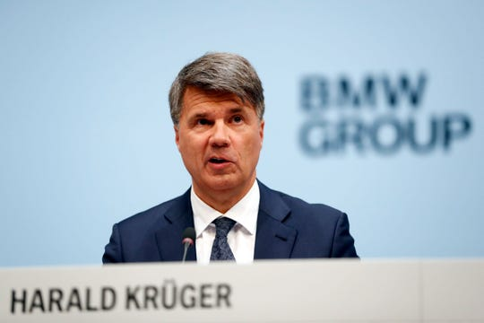 CEO of the German car manufacturer BMW, Harald Krueger, attends the earnings press conference in Munich, Germany, Wednesday, March 20, 2019. (AP Photo/Matthias Schrader)