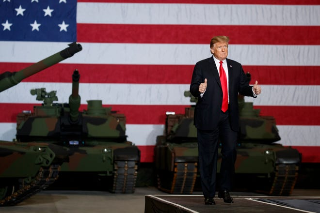 President Donald Trump arrives to deliver remarks at the Lima Army Tank Plant, Wednesday, March 20, 2019, in Lima, Ohio.