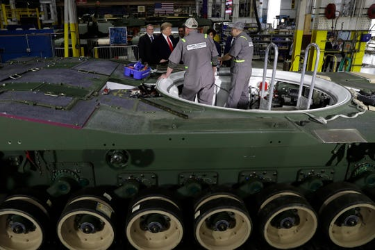 President Donald Trump tours the U.S. Army's Joint Systems Manufacturing Center in Lima, Oh., and once again demands that General Motors Co. reverse plans to close its Lordstown Assembly Plant in northeast Ohio.